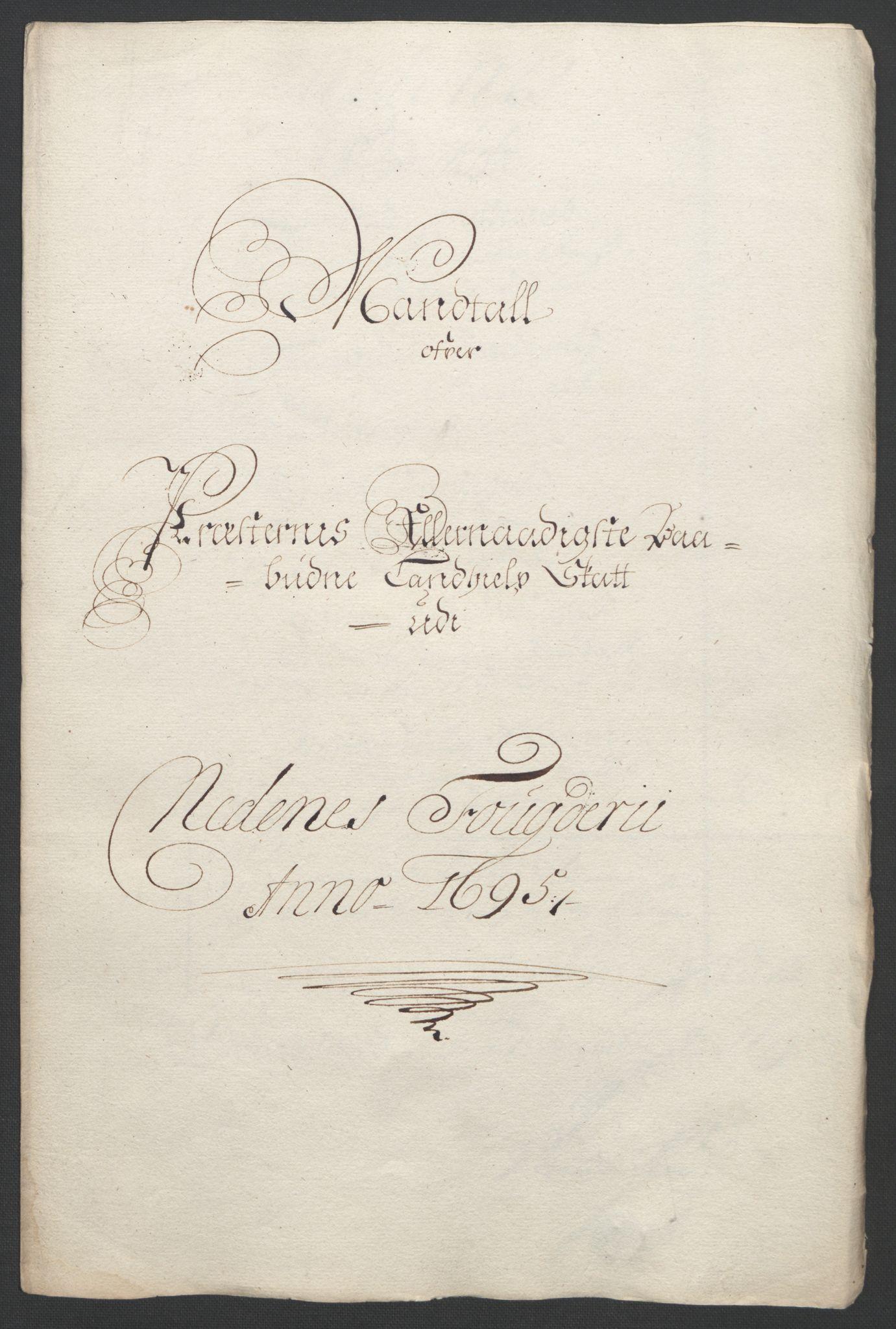 RA, Rentekammeret inntil 1814, Reviderte regnskaper, Fogderegnskap, R39/L2312: Fogderegnskap Nedenes, 1693-1695, s. 286