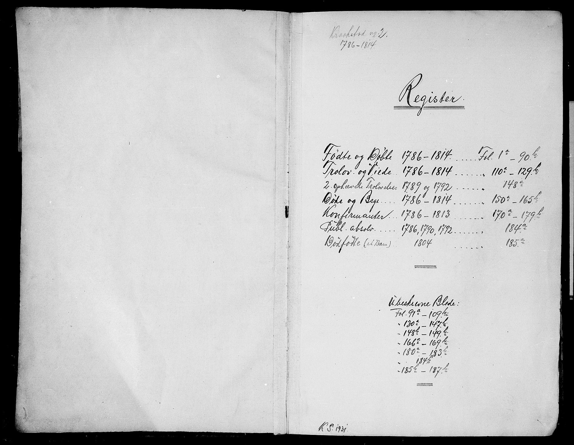 SAO, Kråkstad prestekontor Kirkebøker, F/Fa/L0002: Ministerialbok nr. I 2, 1786-1814