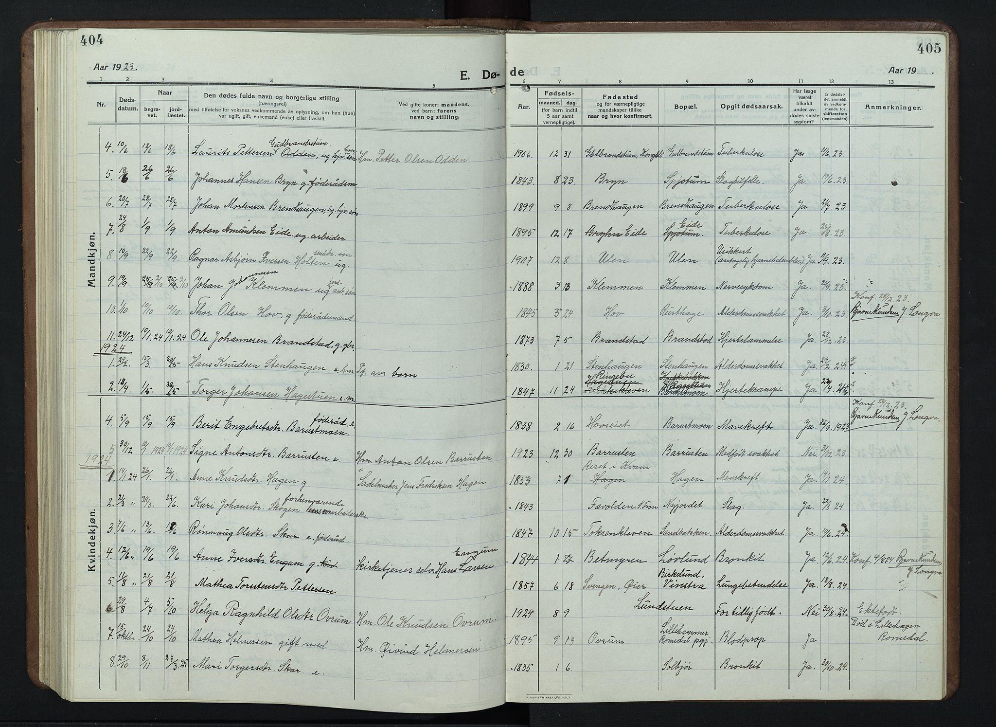 SAH, Nord-Fron prestekontor, Klokkerbok nr. 7, 1915-1946, s. 404-405