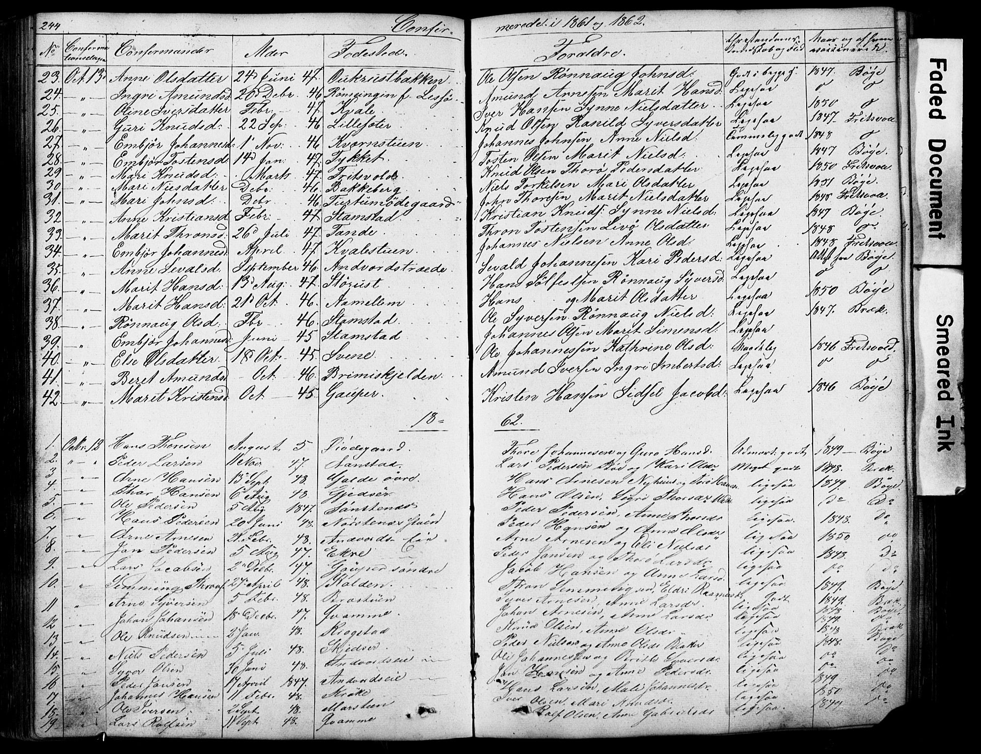 SAH, Lom prestekontor, L/L0012: Klokkerbok nr. 12, 1845-1873, s. 244-245