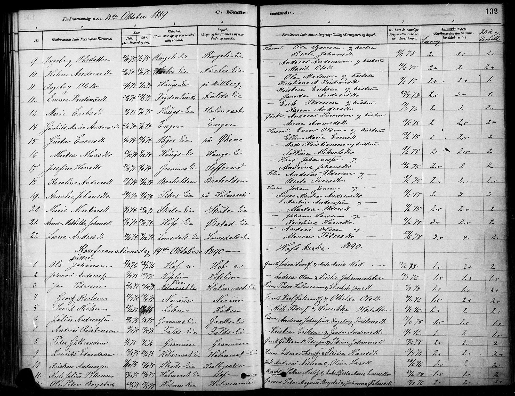 SAH, Søndre Land prestekontor, K/L0003: Ministerialbok nr. 3, 1878-1894, s. 132
