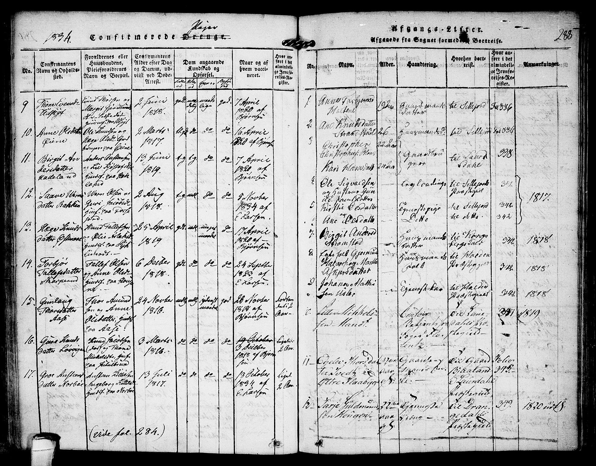 SAKO, Kviteseid kirkebøker, F/Fa/L0005: Ministerialbok nr. I 5, 1815-1836, s. 288