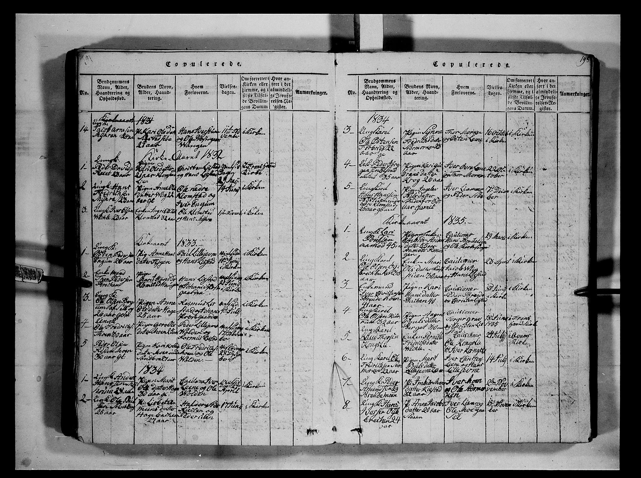 SAH, Fron prestekontor, H/Ha/Hab/L0002: Klokkerbok nr. 2, 1816-1850, s. 198