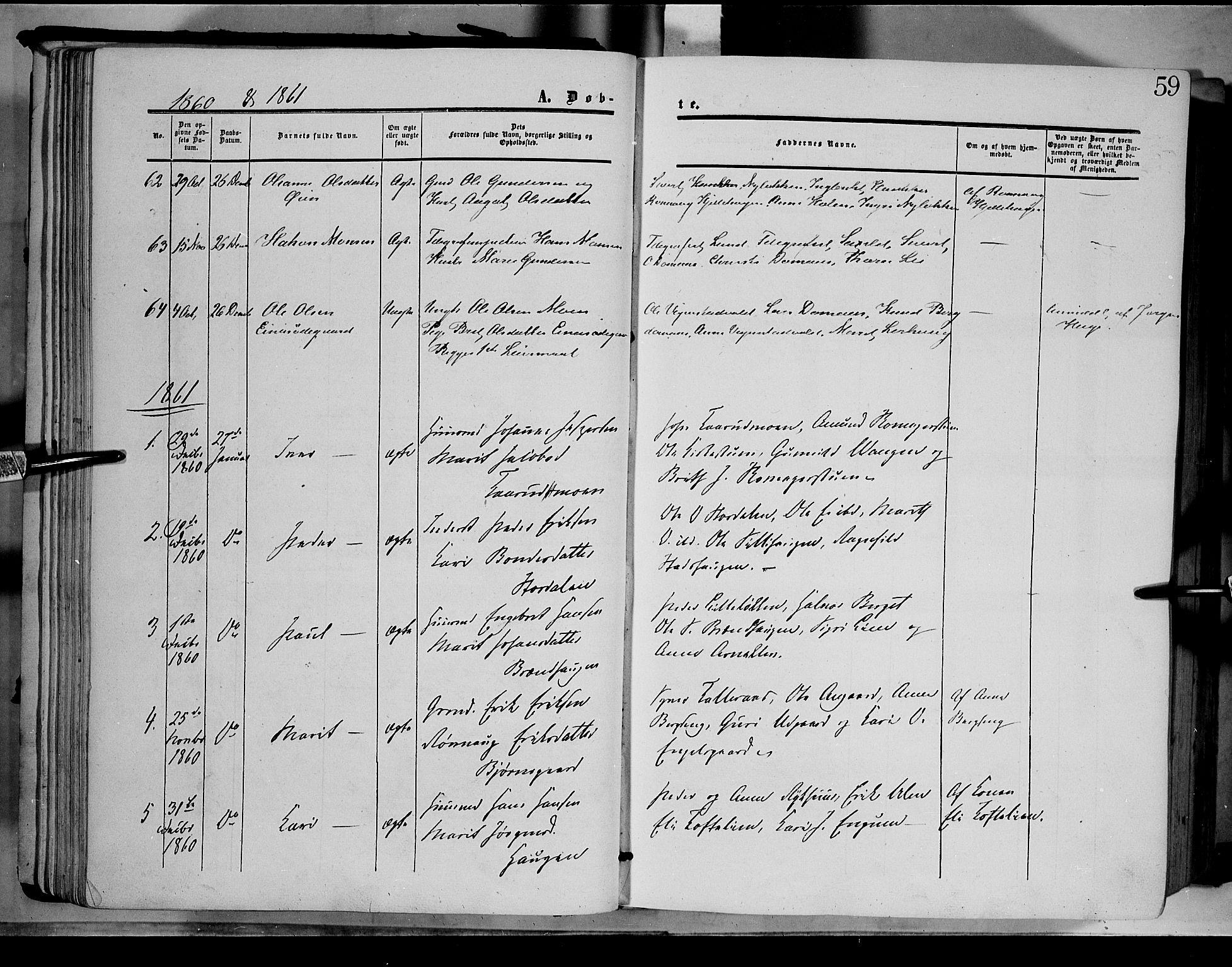 SAH, Dovre prestekontor, Ministerialbok nr. 1, 1854-1878, s. 59