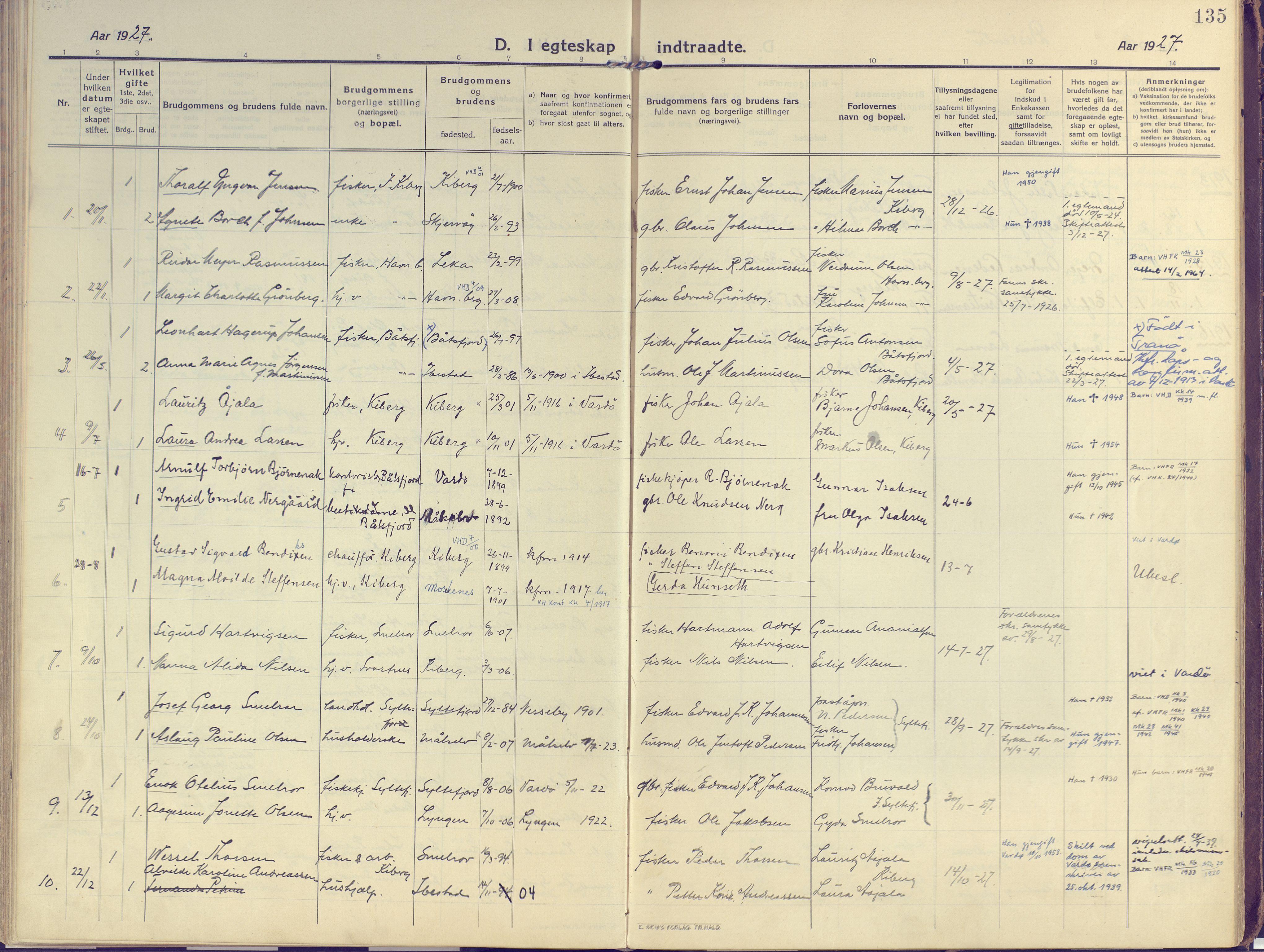 SATØ, Vardø sokneprestkontor, H/Ha/L0013kirke: Ministerialbok nr. 13, 1912-1928, s. 135