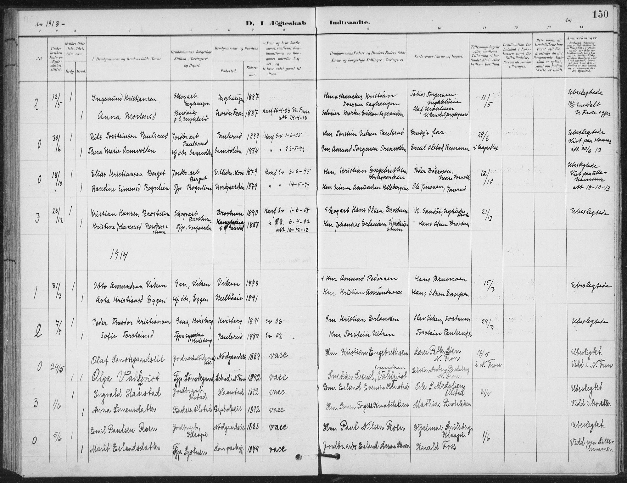 SAH, Vestre Gausdal prestekontor, Klokkerbok nr. 4, 1898-1939, s. 150