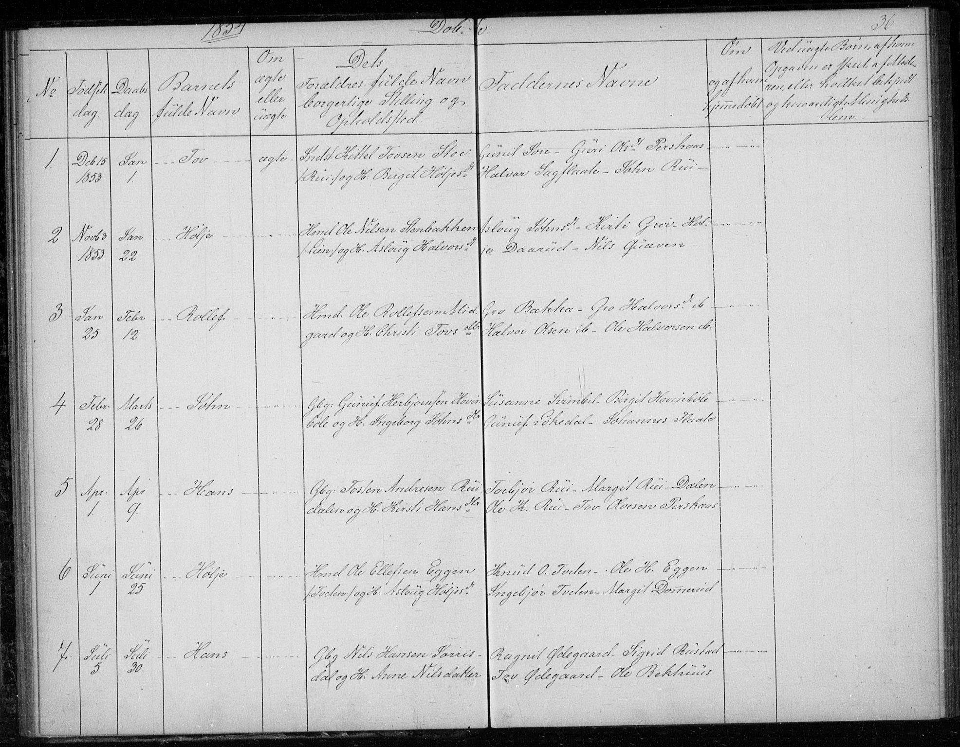 SAKO, Gransherad kirkebøker, F/Fb/L0003: Ministerialbok nr. II 3, 1844-1859, s. 36