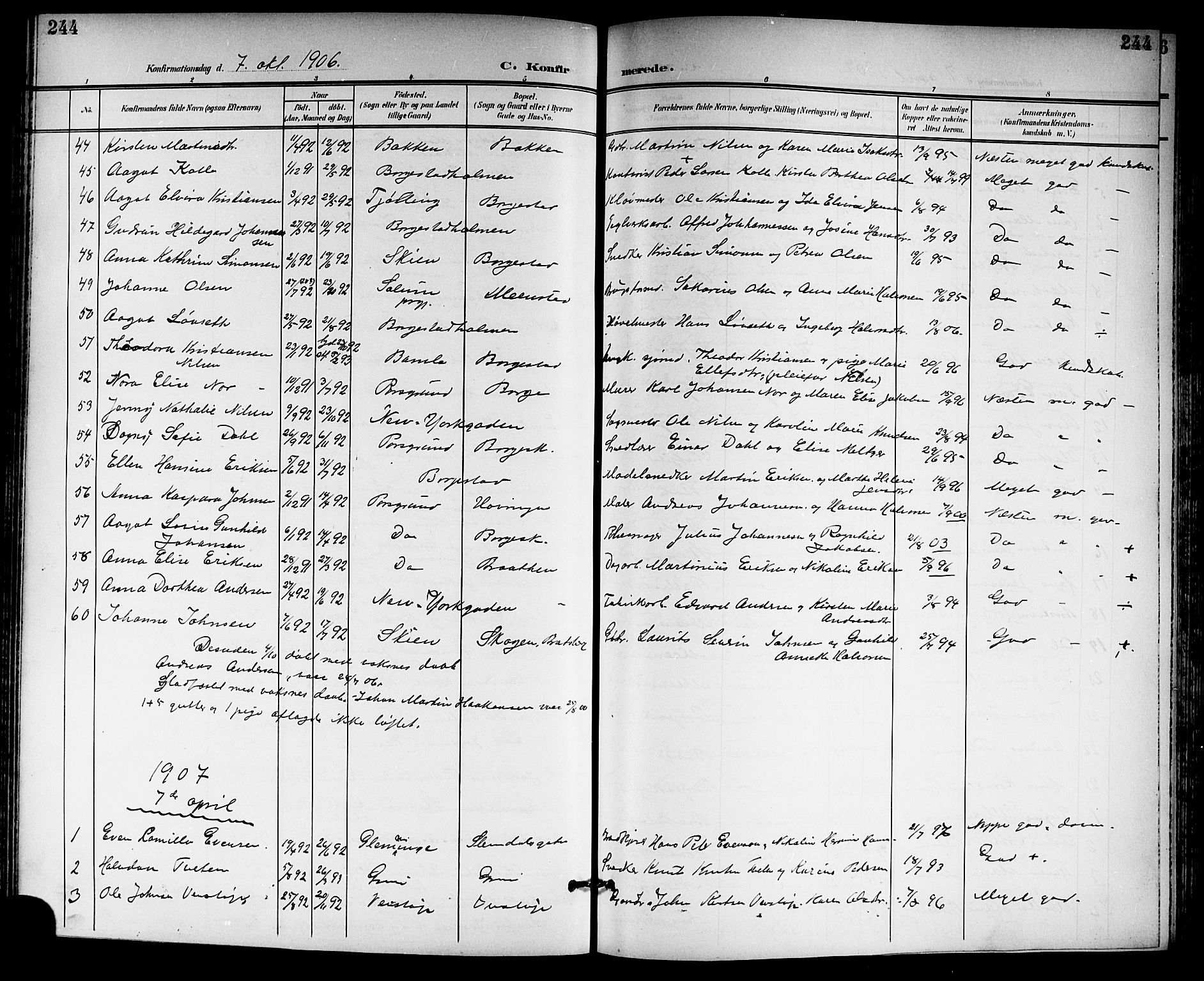 SAKO, Gjerpen kirkebøker, G/Ga/L0003: Klokkerbok nr. I 3, 1901-1919, s. 244