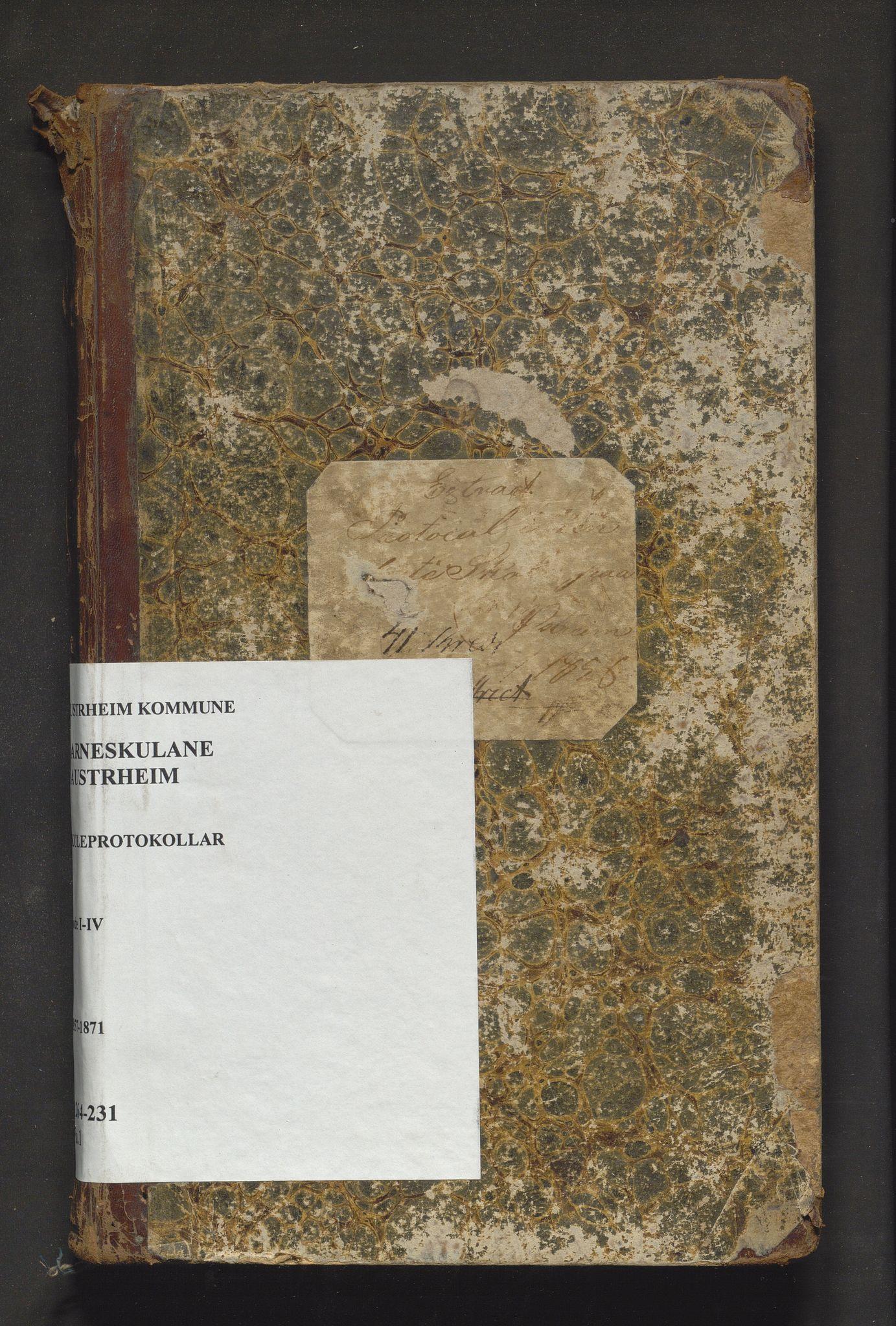 IKAH, Austrheim kommune. Barneskulane, F/Fa/L0001: Skuleprotokoll for omgangsskulen i Rode 1-4, 1857-1871