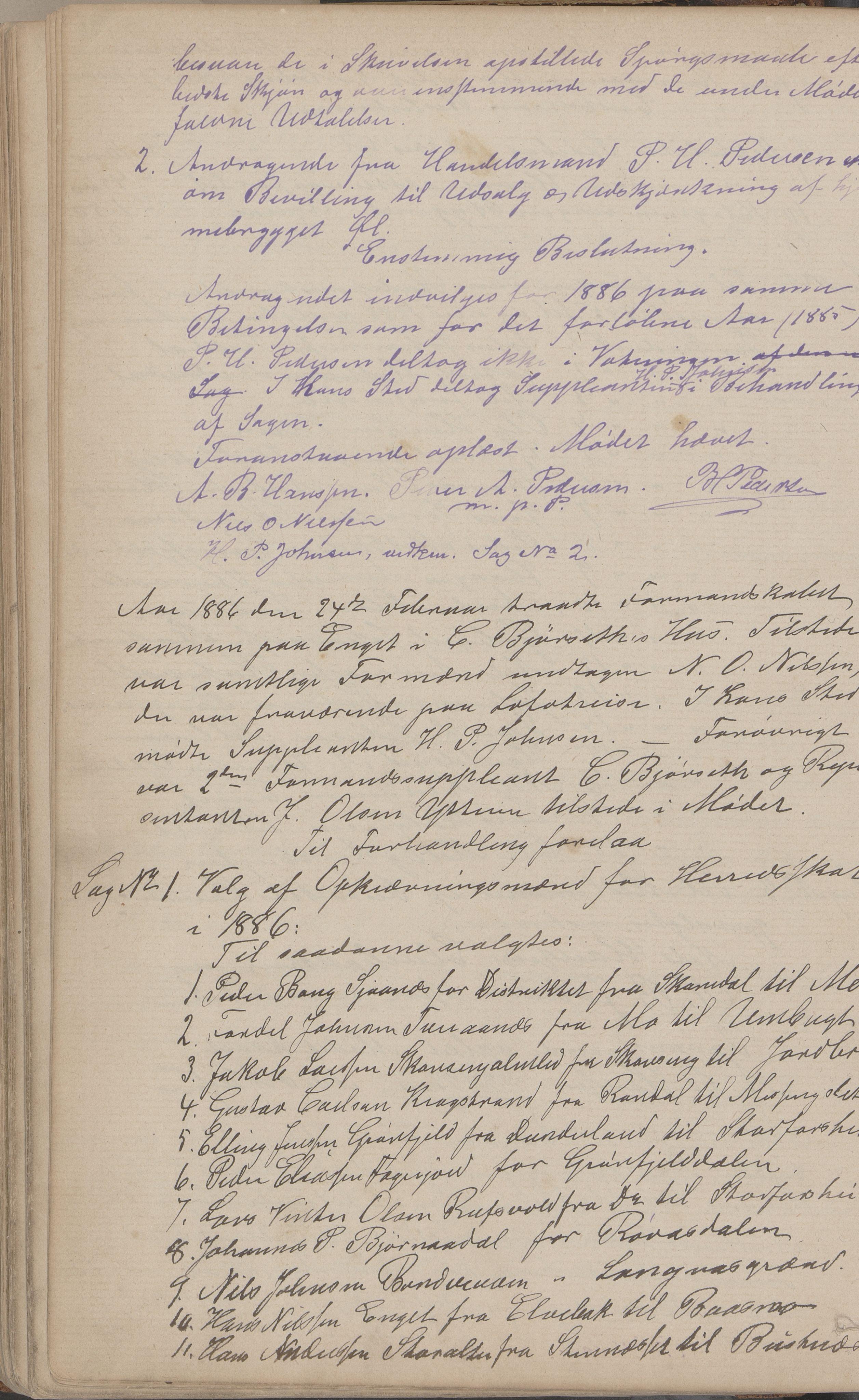 AIN, Mo kommune. Formannskapet, A/Aa/L0002: Møtebok, 1876-1891, s. 121b