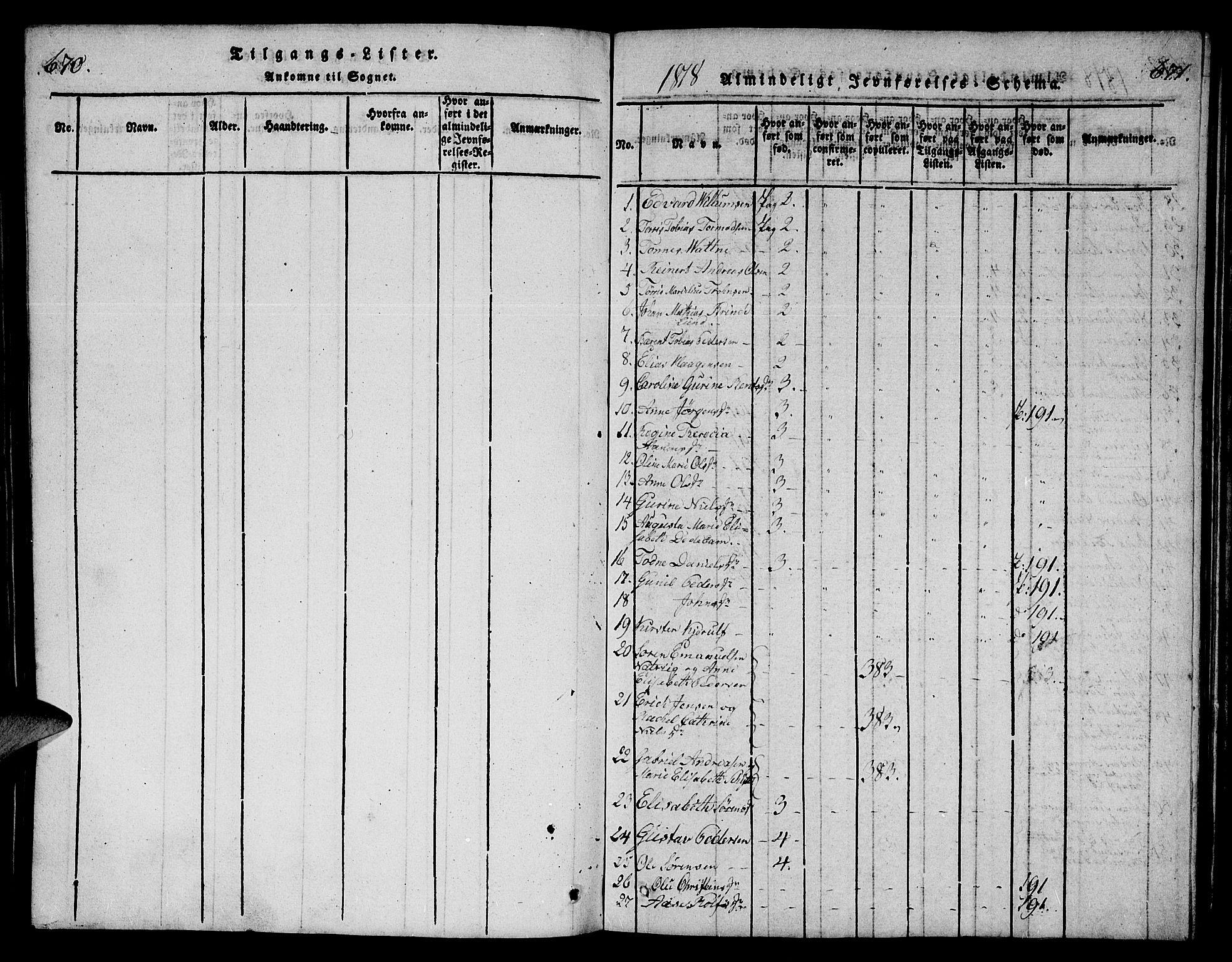 SAK, Mandal sokneprestkontor, F/Fb/Fba/L0001: Klokkerbok nr. B 1, 1818-1830, s. 670-671