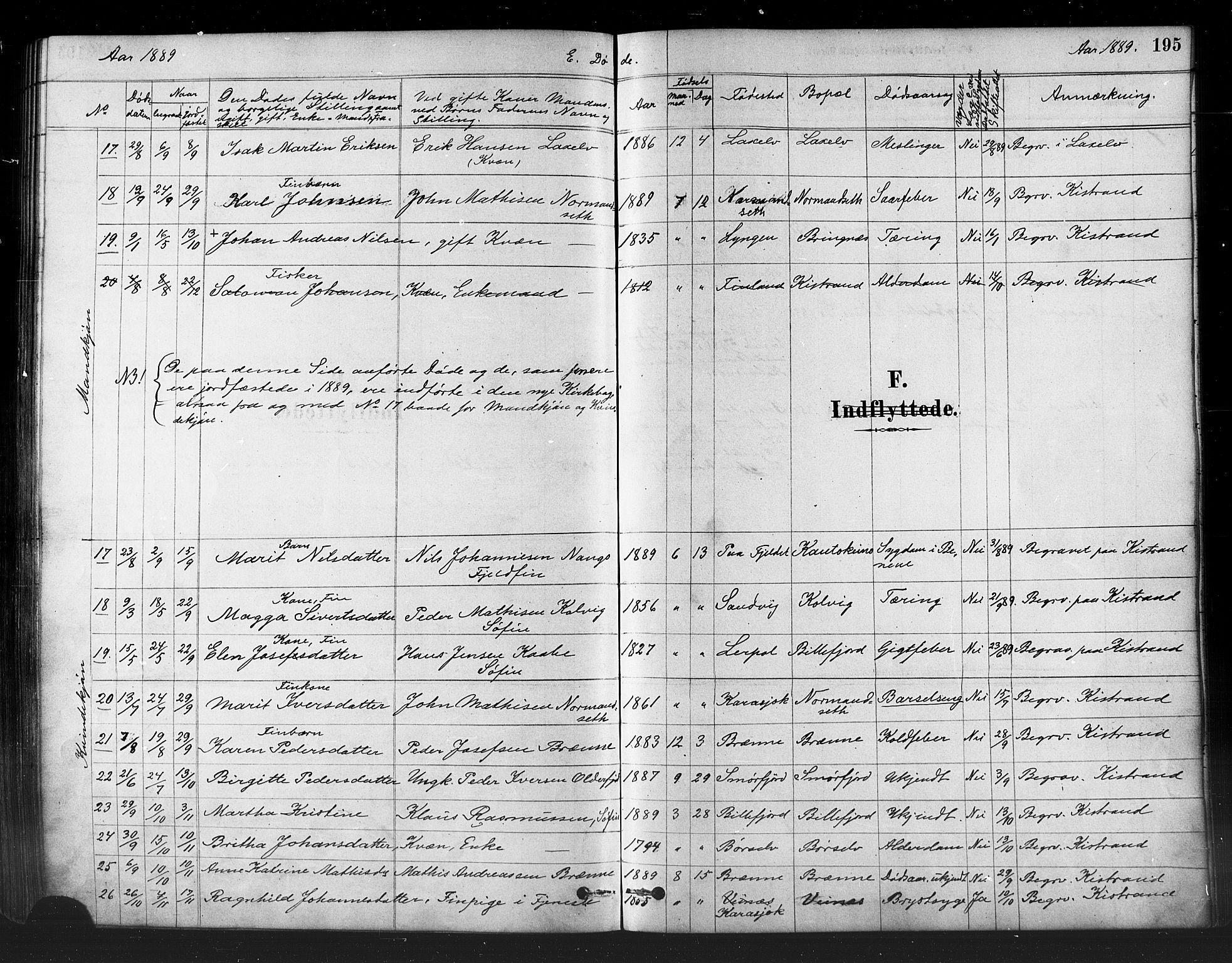 SATØ, Kistrand/Porsanger sokneprestembete, H/Ha/L0007.kirke: Ministerialbok nr. 7, 1881-1889, s. 195