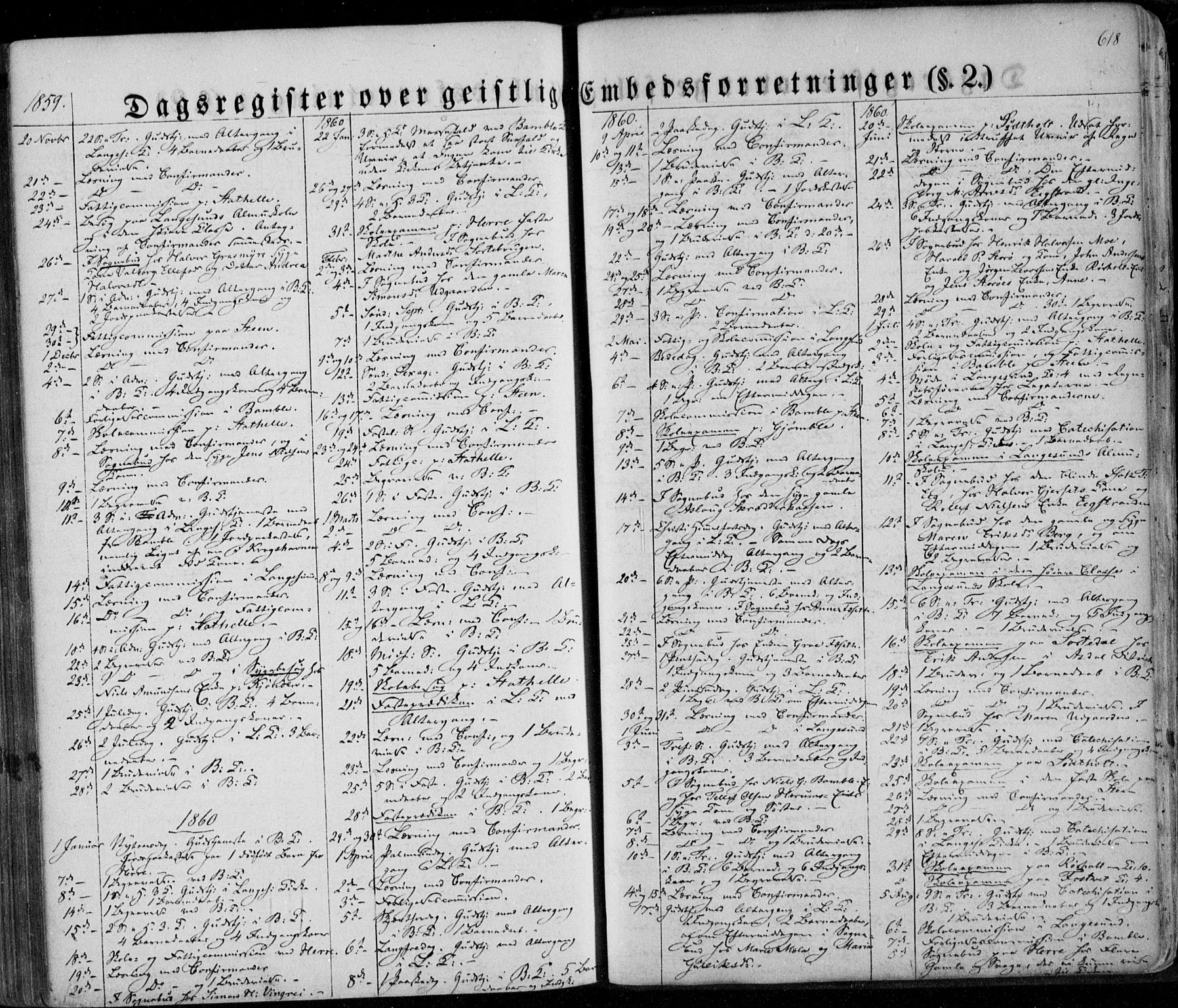 SAKO, Bamble kirkebøker, F/Fa/L0005: Ministerialbok nr. I 5, 1854-1869, s. 618