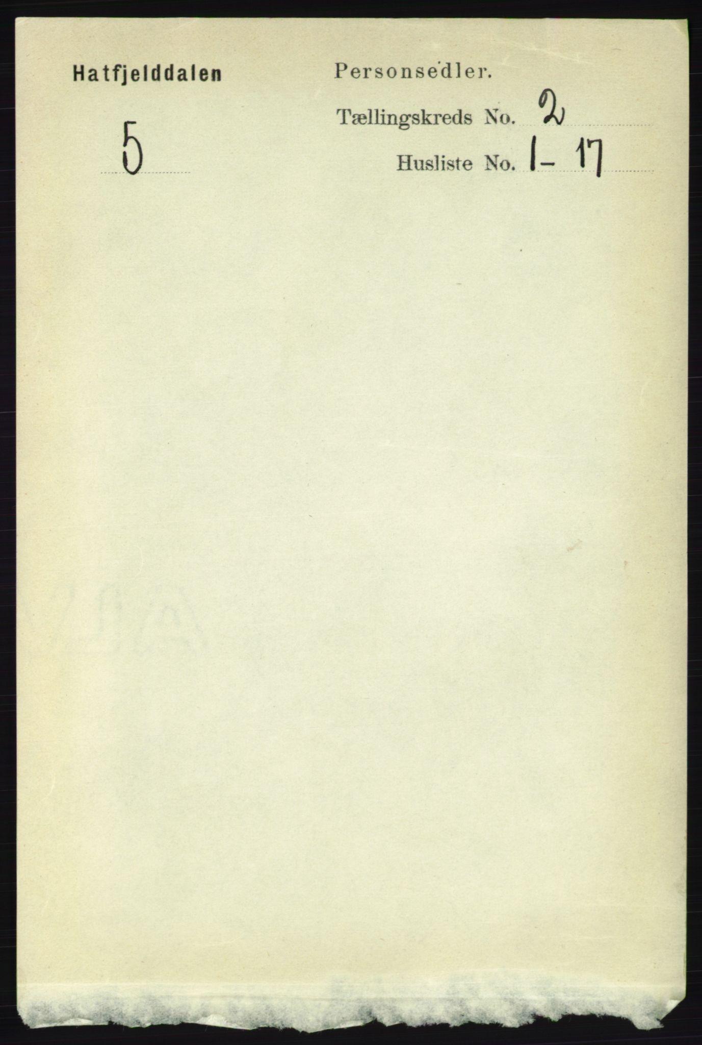 RA, Folketelling 1891 for 1826 Hattfjelldal herred, 1891, s. 287