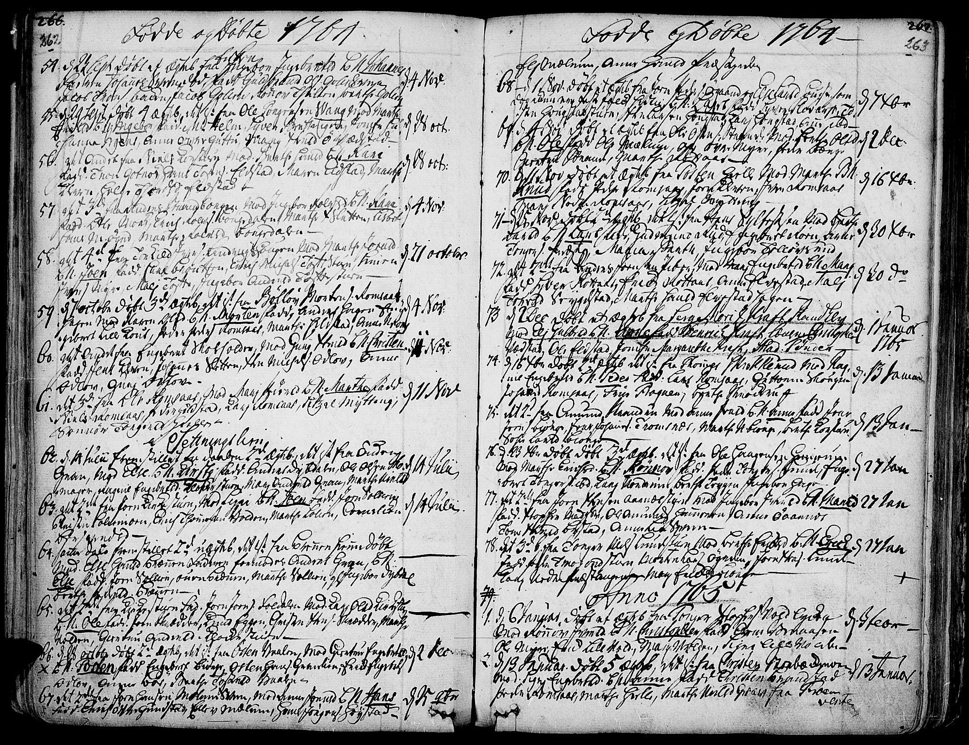 SAH, Ringebu prestekontor, Ministerialbok nr. 2, 1734-1780, s. 262-263
