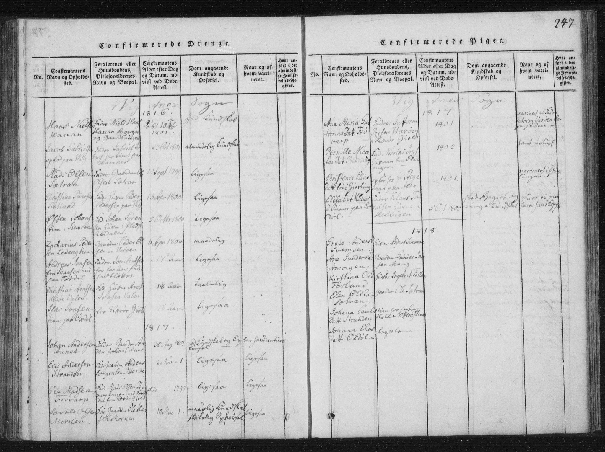 SAT, Ministerialprotokoller, klokkerbøker og fødselsregistre - Nord-Trøndelag, 773/L0609: Ministerialbok nr. 773A03 /2, 1815-1830, s. 247