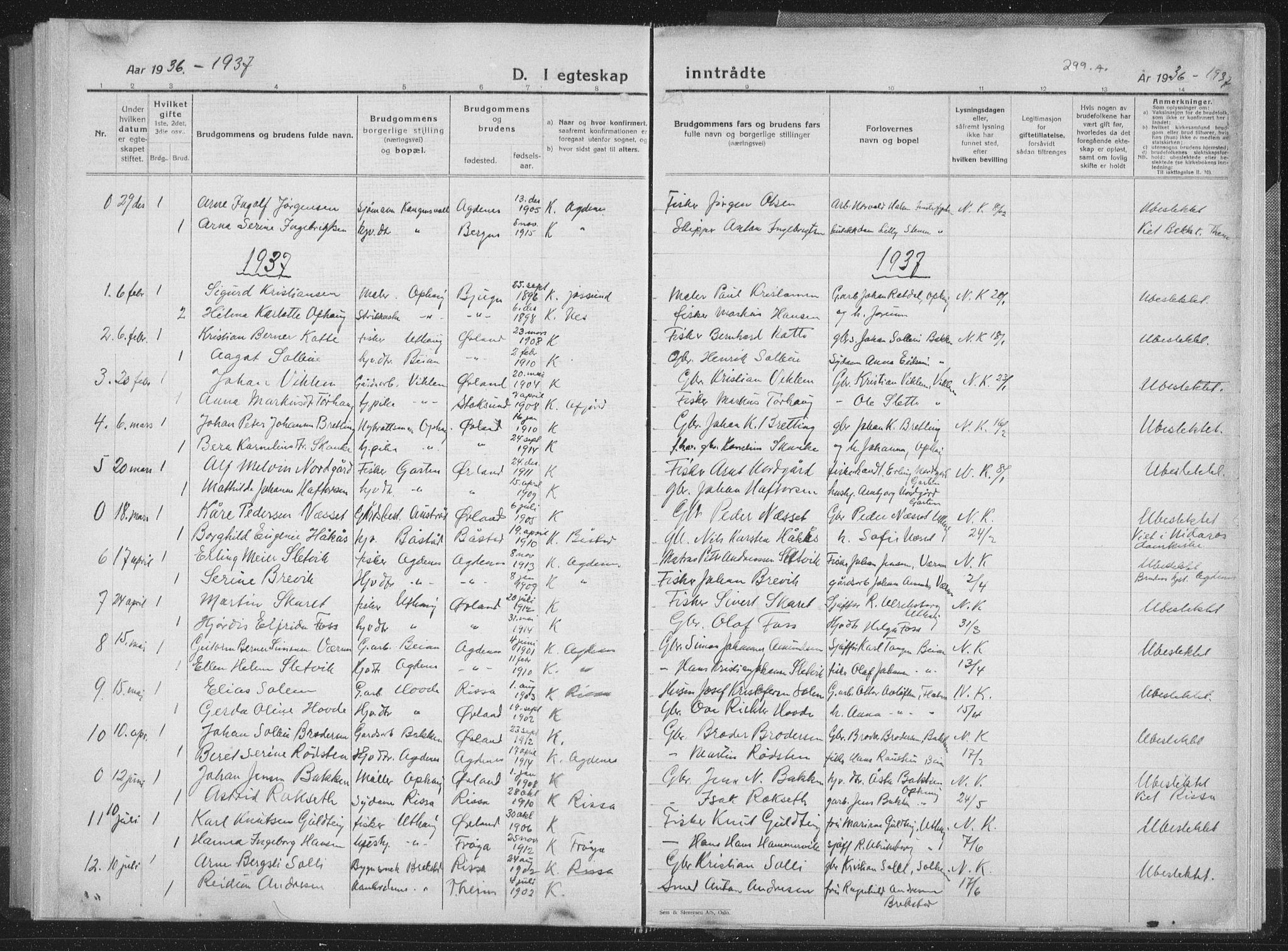 SAT, Ministerialprotokoller, klokkerbøker og fødselsregistre - Sør-Trøndelag, 659/L0747: Klokkerbok nr. 659C04, 1913-1938, s. 300
