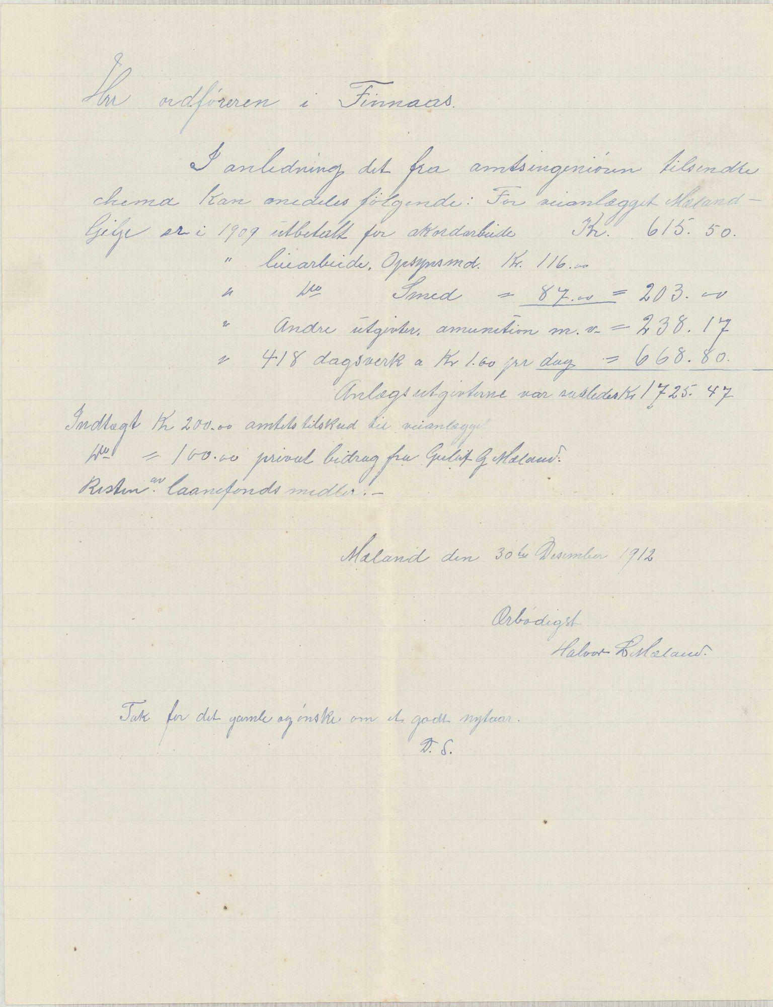 IKAH, Finnaas kommune. Formannskapet, E/Ea/L0001: Rekneskap for veganlegg, 1907-1910, s. 50