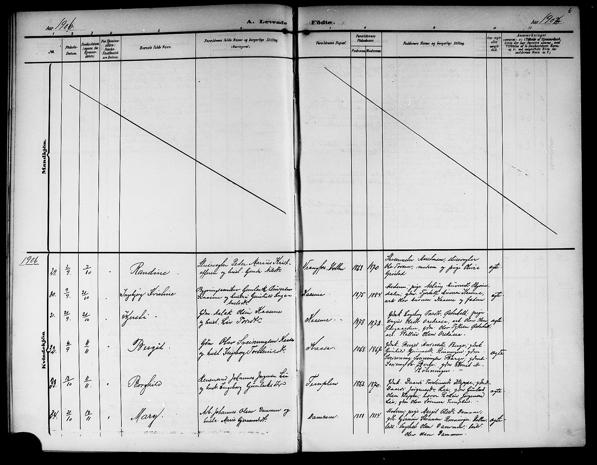SAKO, Lunde kirkebøker, G/Ga/L0004: Klokkerbok nr. I 4, 1906-1914, s. 6