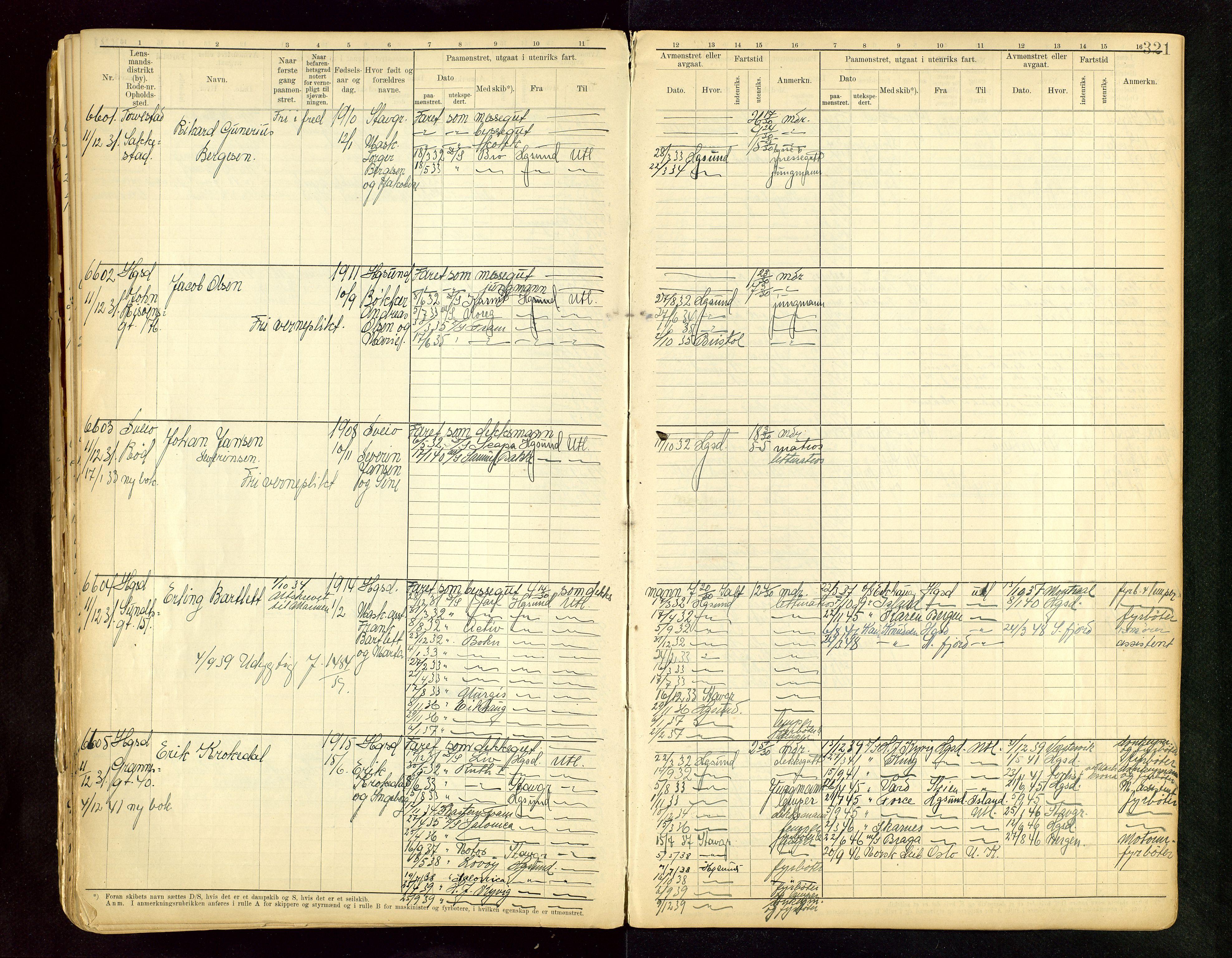 SAST, Haugesund sjømannskontor, F/Fb/Fbb/L0015: Sjøfartsrulle A Haugesund krets I nr 5001-8970, 1912-1948, s. 321