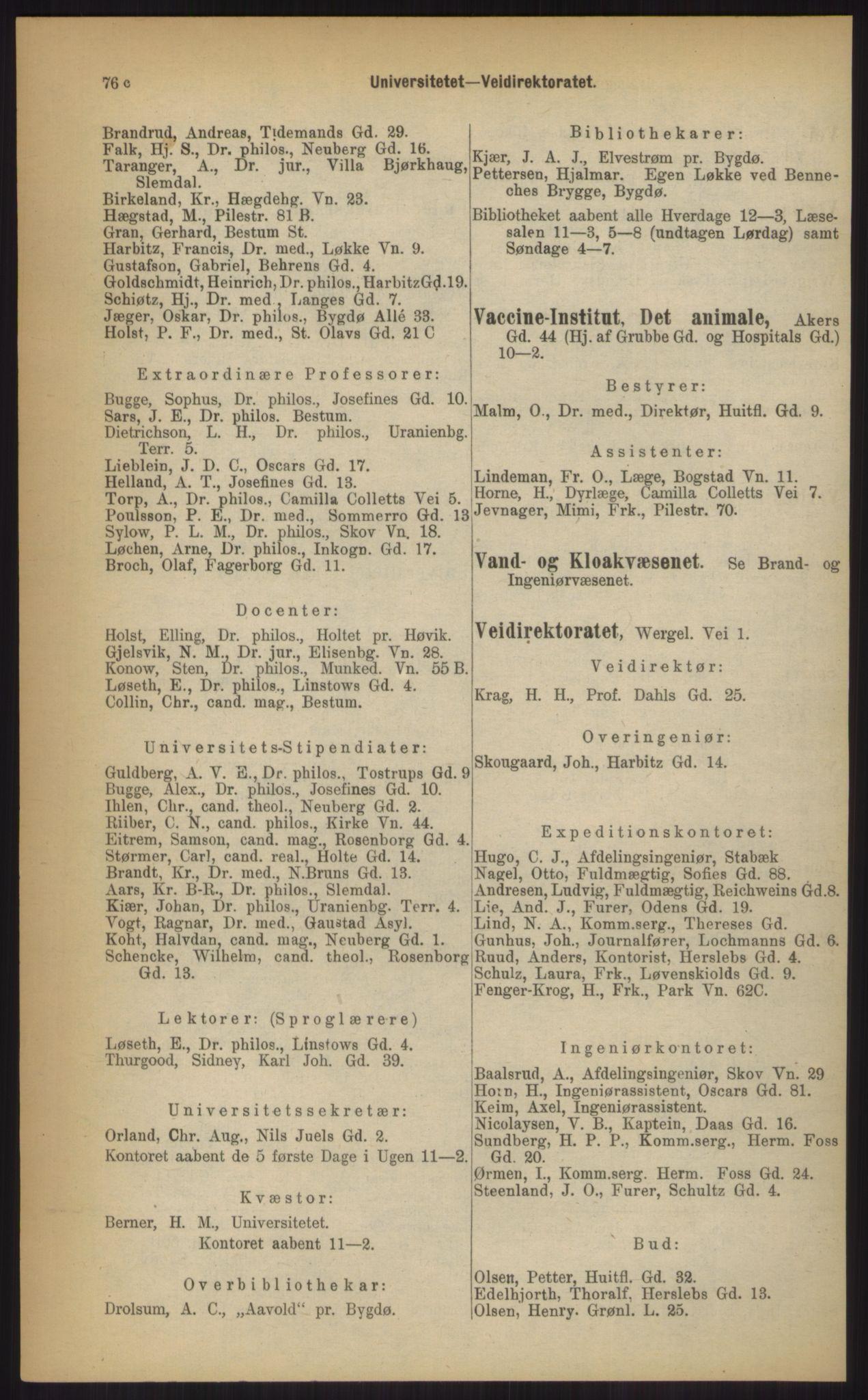 RA, Kristiania adressebok (publikasjon)*, 1903, s. 76