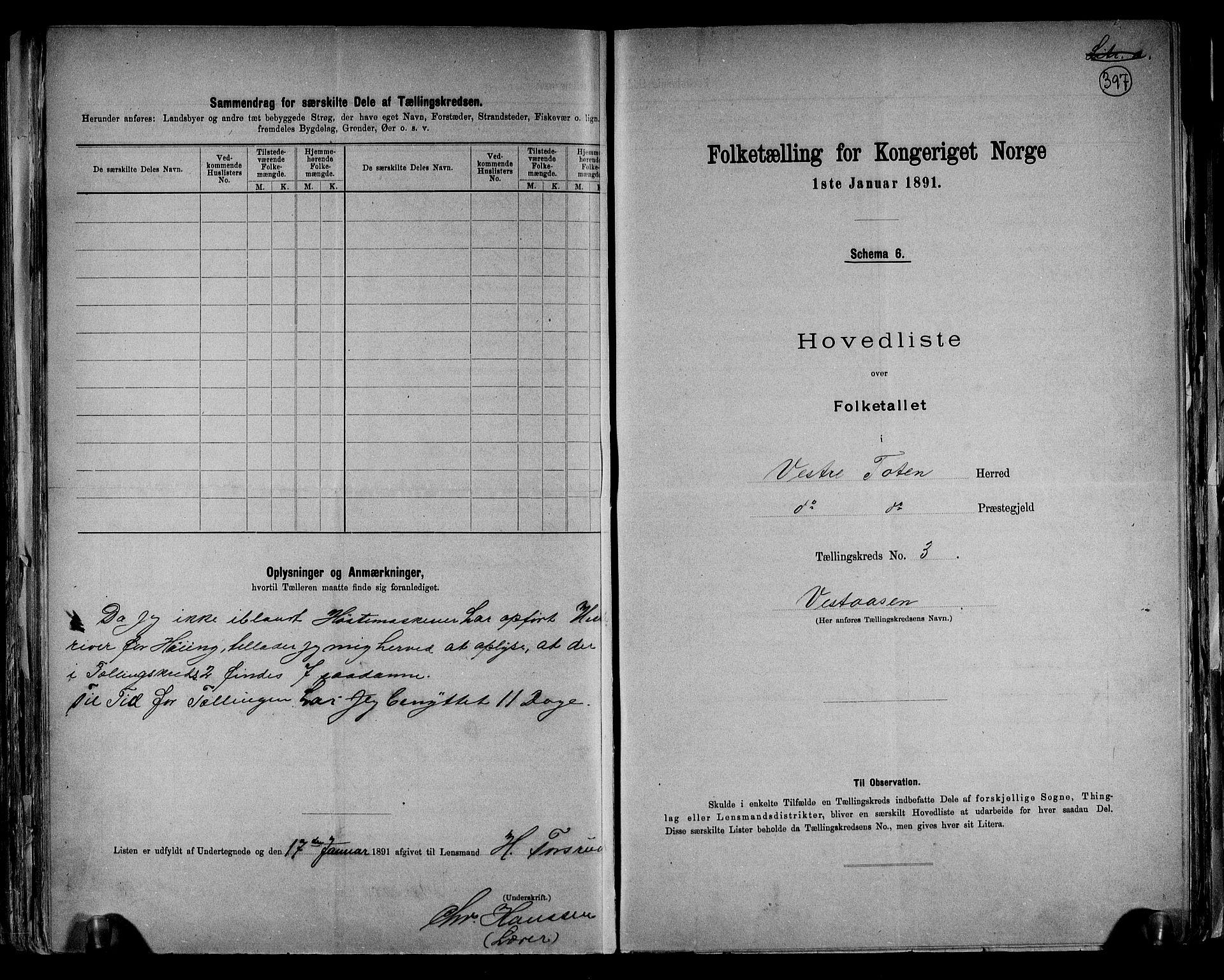 RA, Folketelling 1891 for 0529 Vestre Toten herred, 1891, s. 11