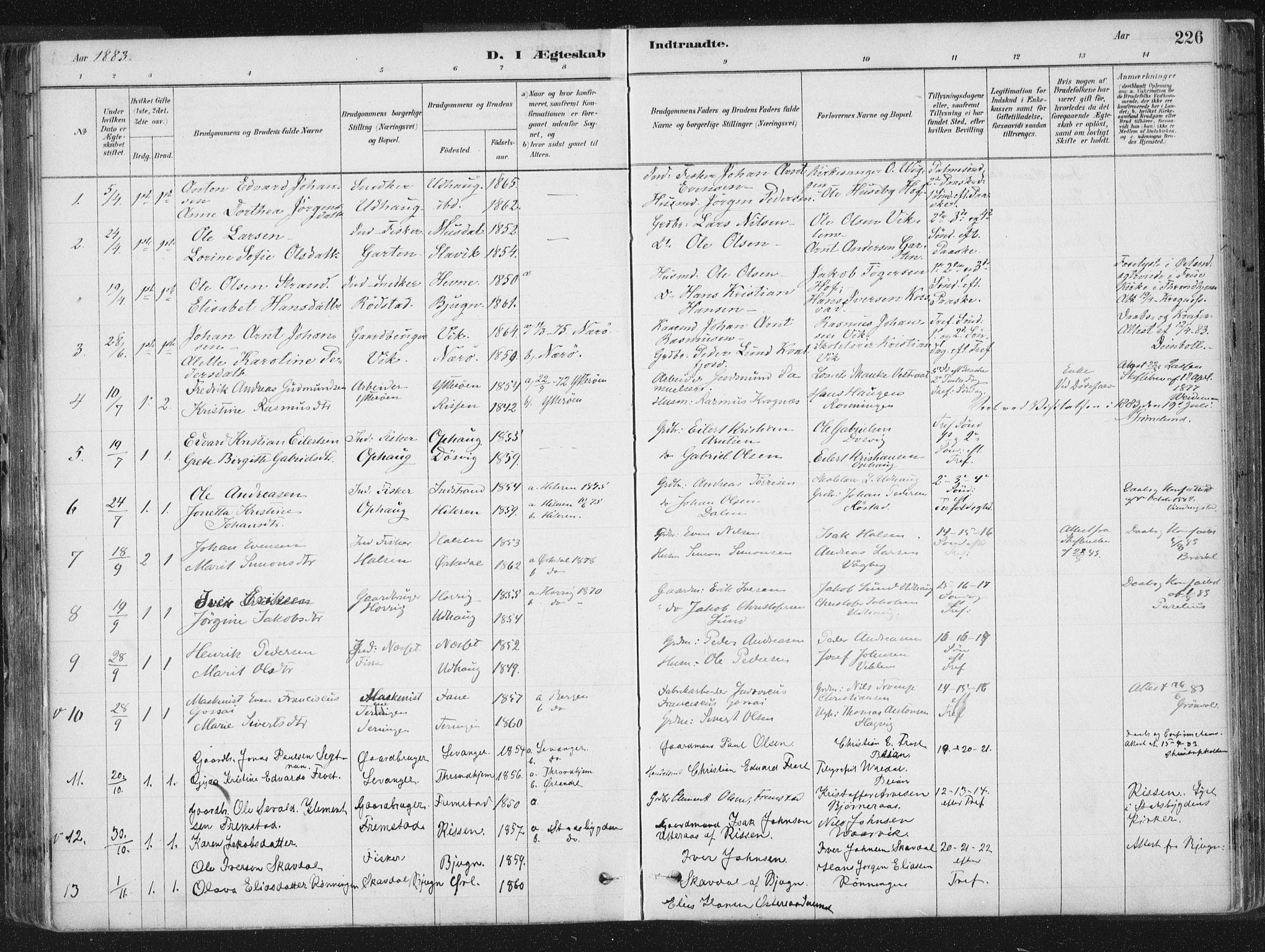 SAT, Ministerialprotokoller, klokkerbøker og fødselsregistre - Sør-Trøndelag, 659/L0739: Ministerialbok nr. 659A09, 1879-1893, s. 226