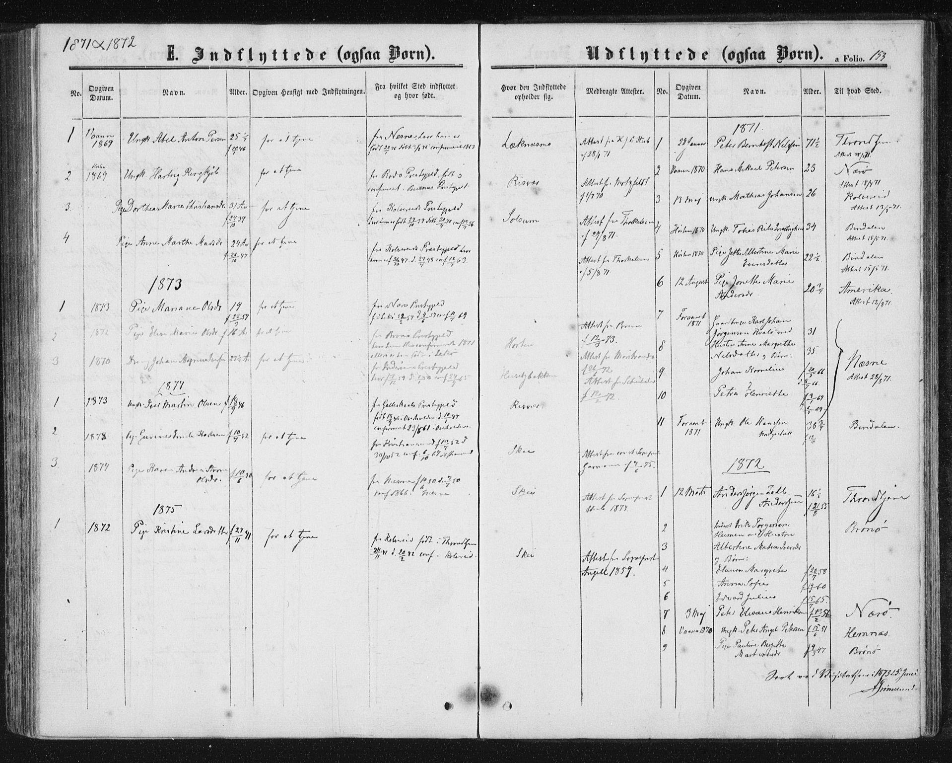 SAT, Ministerialprotokoller, klokkerbøker og fødselsregistre - Nord-Trøndelag, 788/L0696: Ministerialbok nr. 788A03, 1863-1877, s. 153