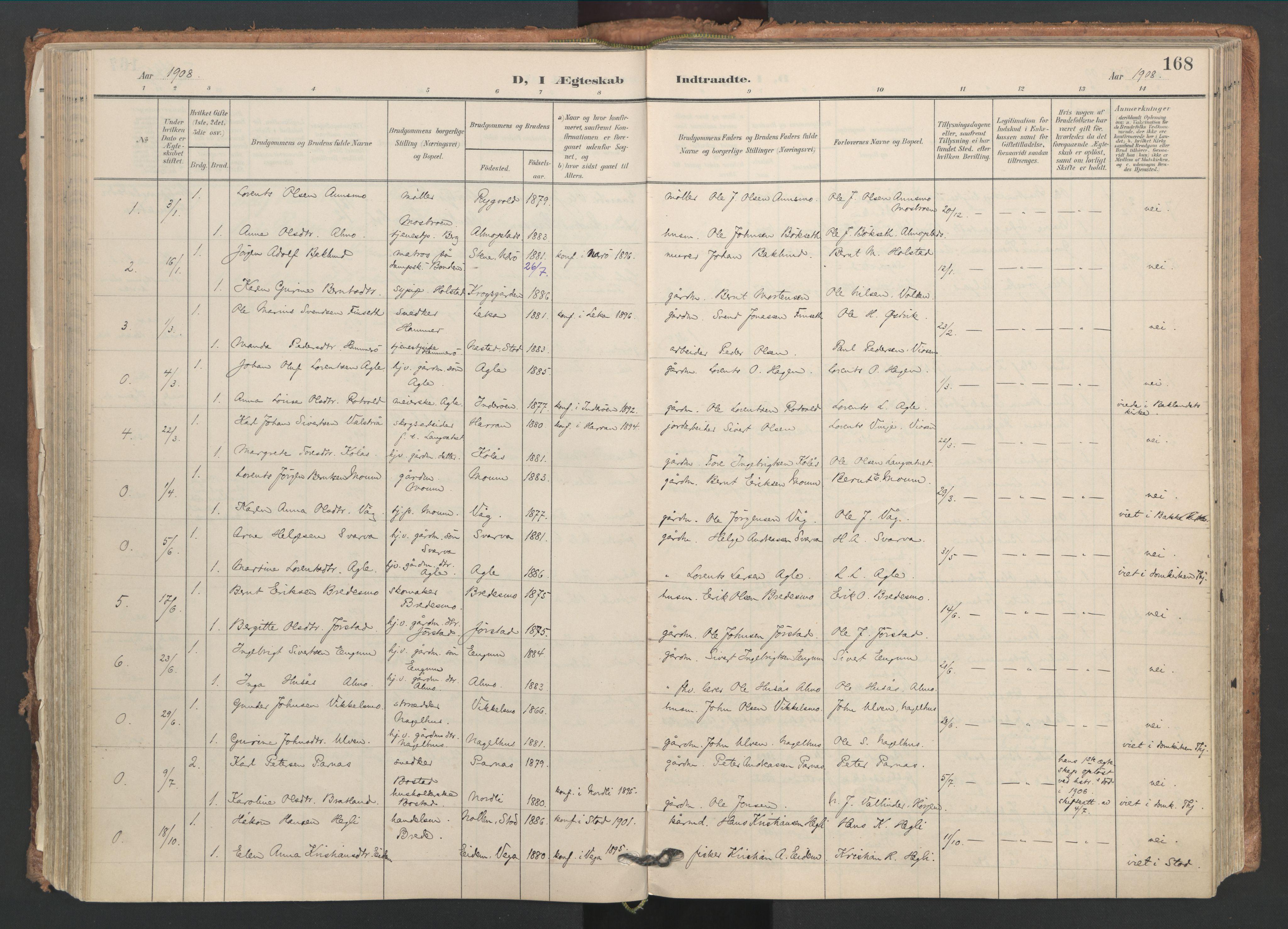 SAT, Ministerialprotokoller, klokkerbøker og fødselsregistre - Nord-Trøndelag, 749/L0477: Ministerialbok nr. 749A11, 1902-1927, s. 168