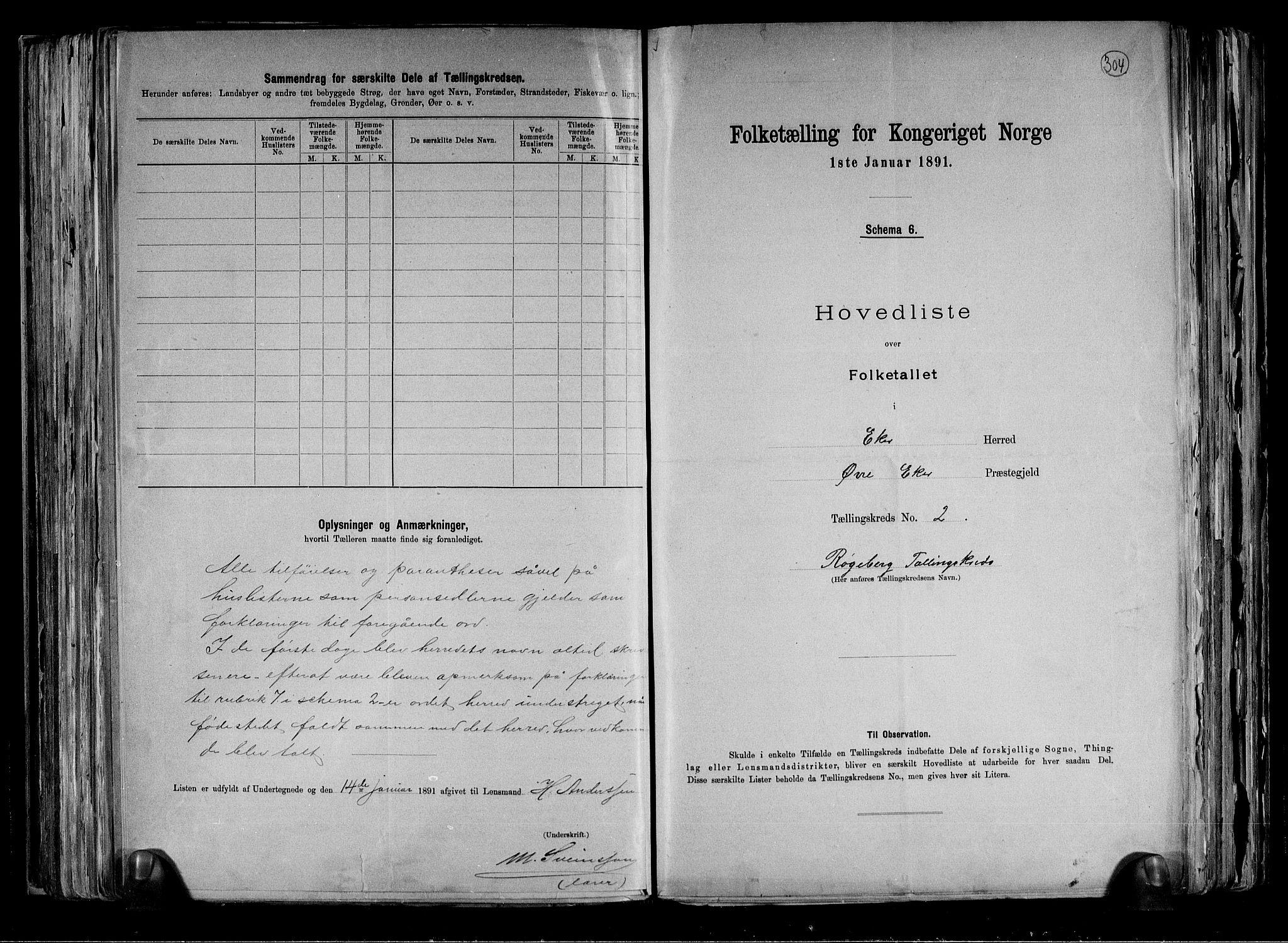 RA, Folketelling 1891 for 0624 Øvre Eiker herred, 1891, s. 6