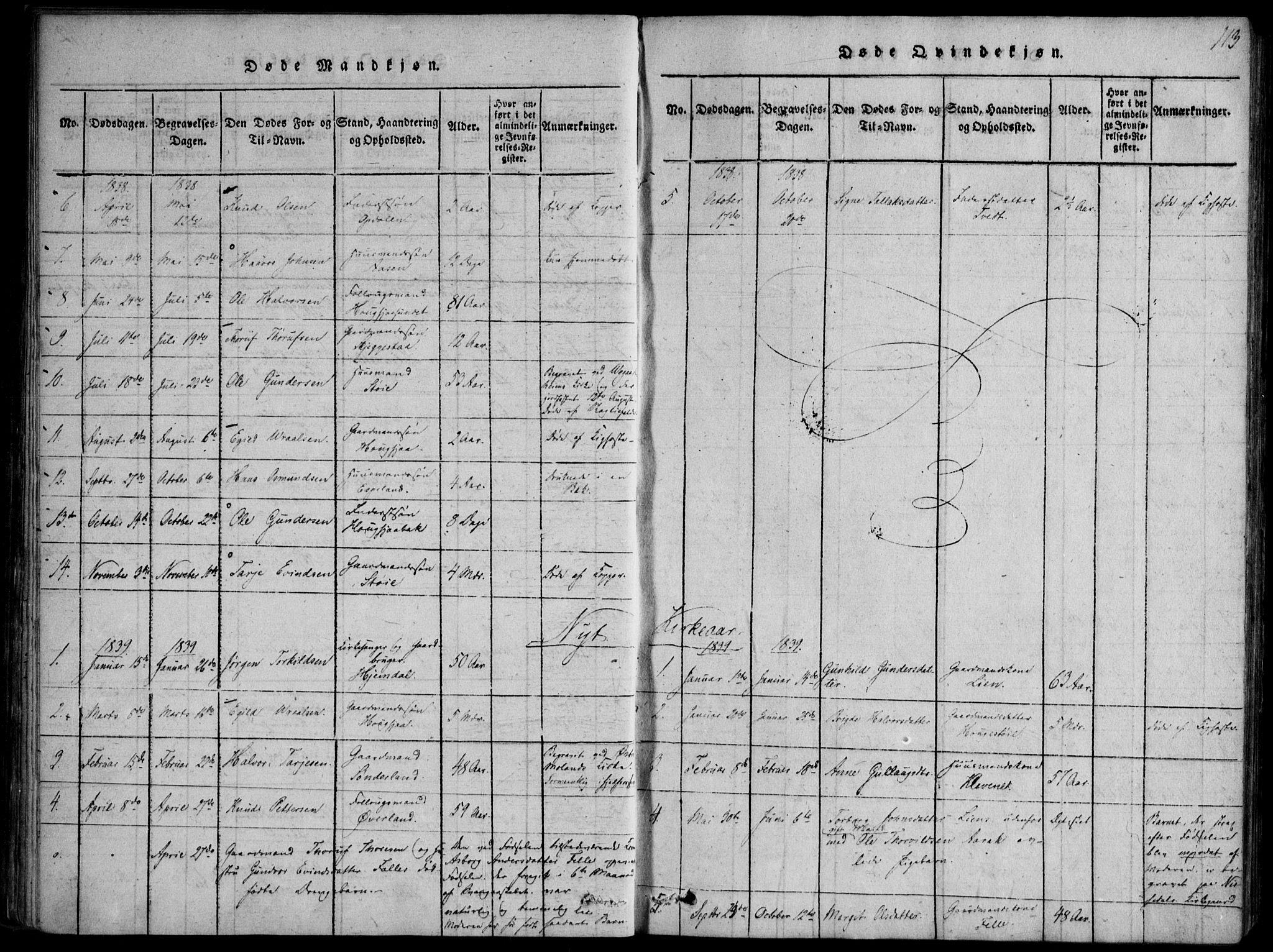 SAKO, Nissedal kirkebøker, F/Fb/L0001: Ministerialbok nr. II 1, 1814-1845, s. 113