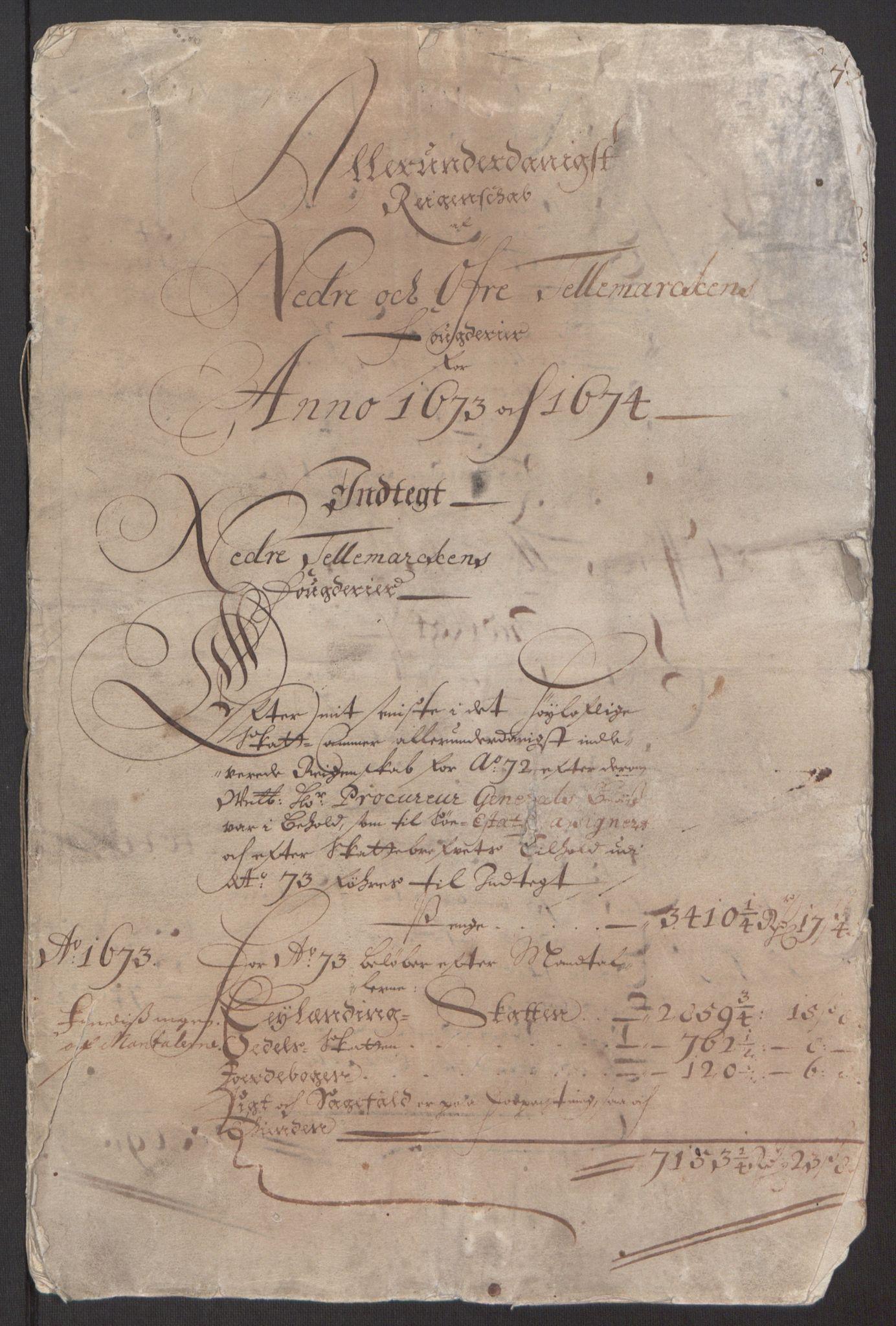 RA, Rentekammeret inntil 1814, Reviderte regnskaper, Fogderegnskap, R35/L2061: Fogderegnskap Øvre og Nedre Telemark, 1673-1674, s. 3