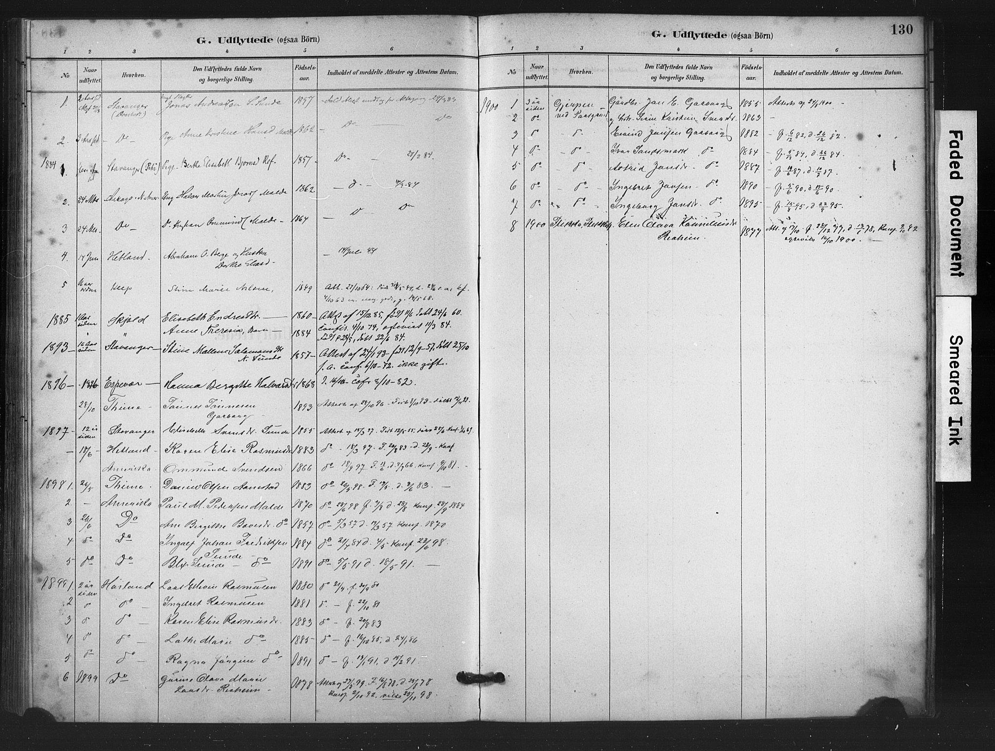 SAST, Håland sokneprestkontor, 30BA/L0011: Ministerialbok nr. A 10, 1883-1900, s. 130