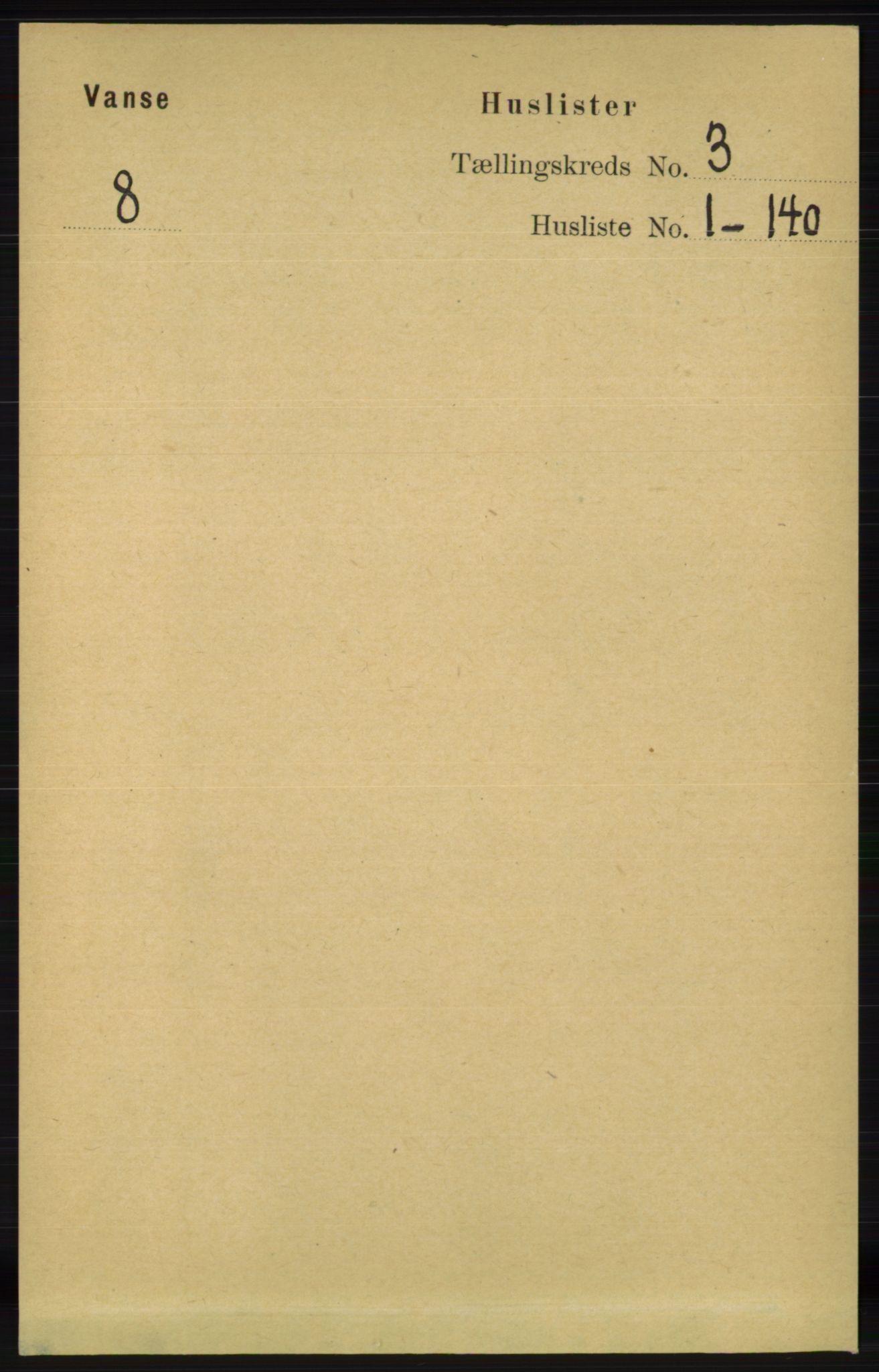 RA, Folketelling 1891 for 1041 Vanse herred, 1891, s. 1257