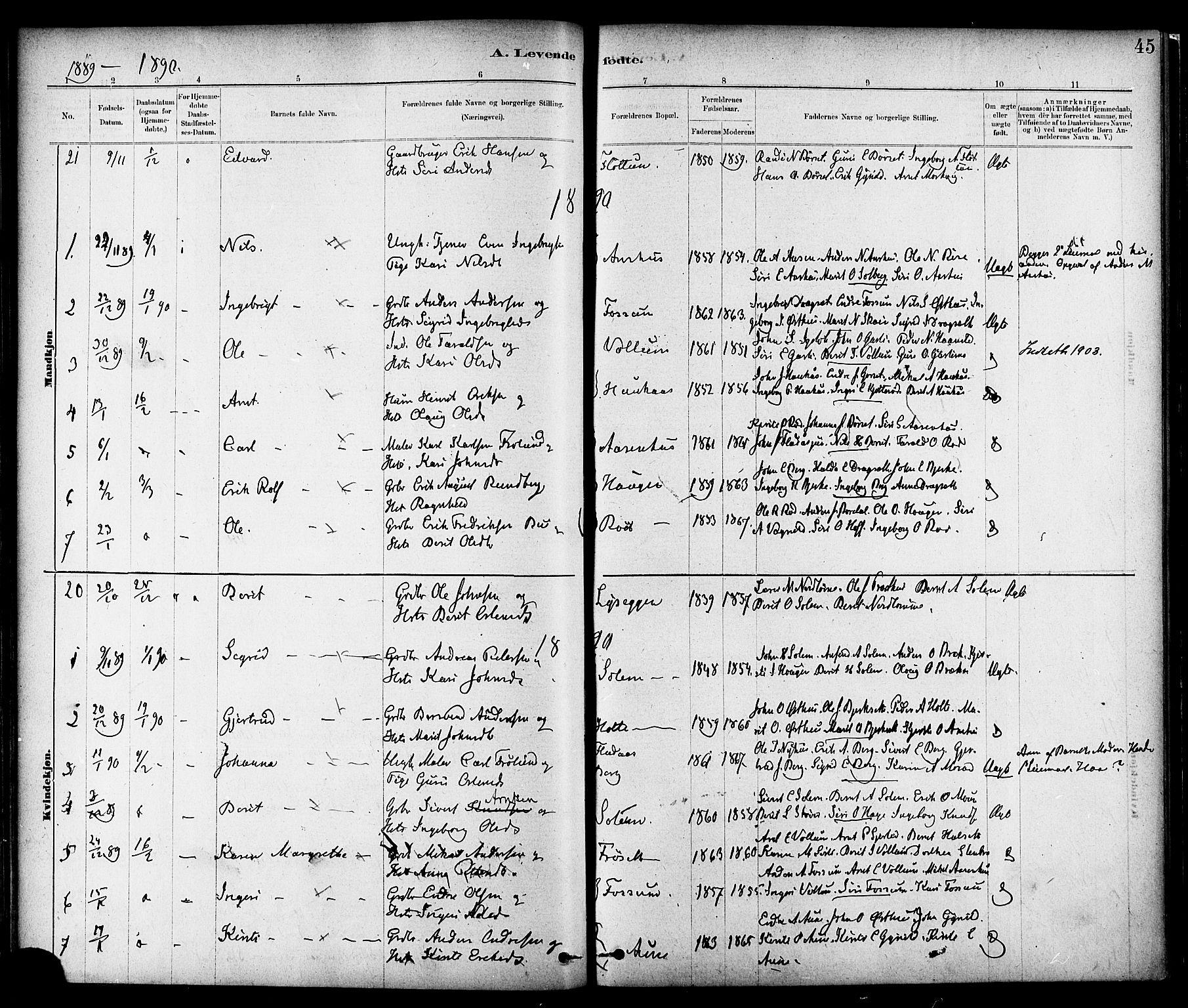 SAT, Ministerialprotokoller, klokkerbøker og fødselsregistre - Sør-Trøndelag, 689/L1040: Ministerialbok nr. 689A05, 1878-1890, s. 45