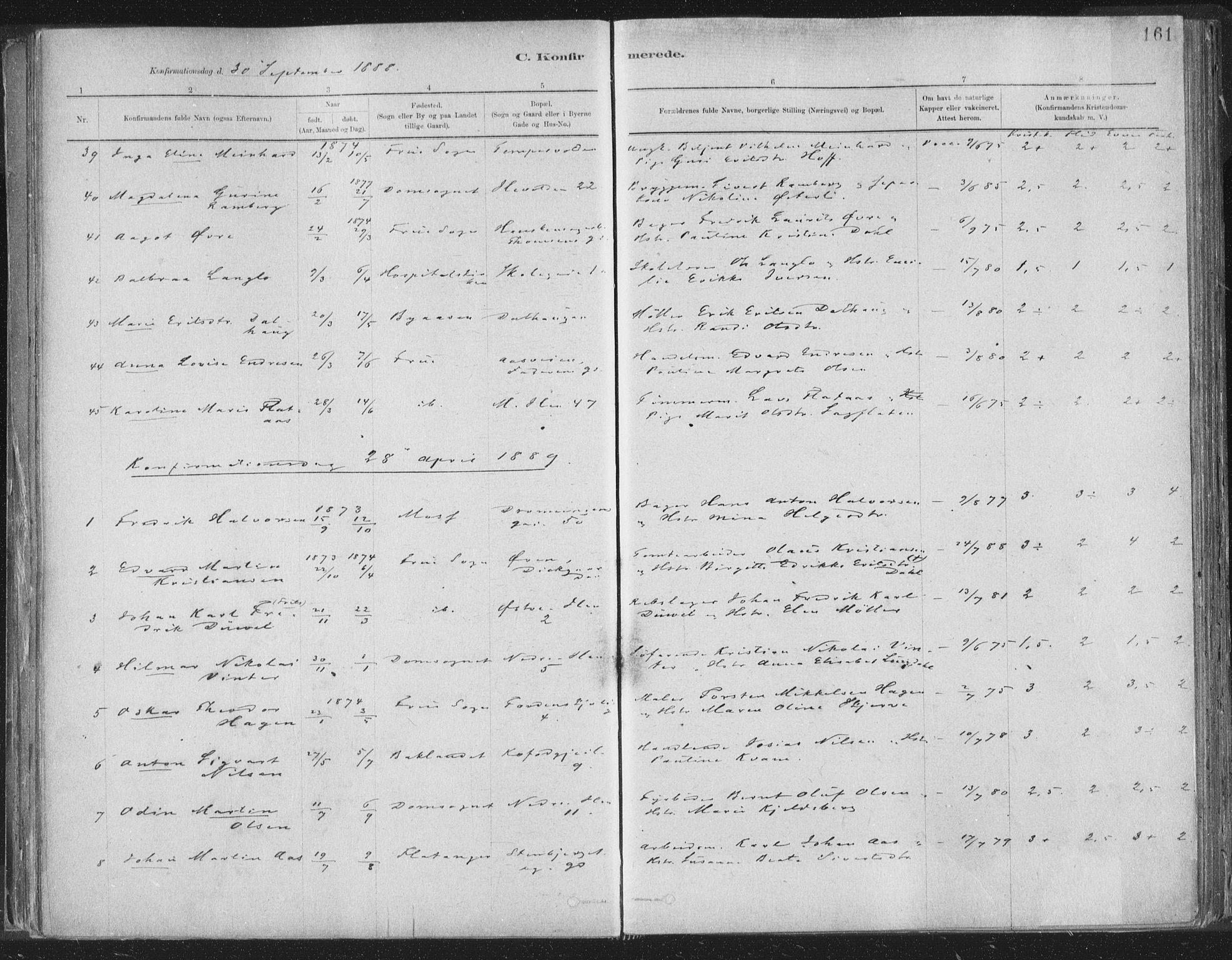 SAT, Ministerialprotokoller, klokkerbøker og fødselsregistre - Sør-Trøndelag, 603/L0162: Ministerialbok nr. 603A01, 1879-1895, s. 161