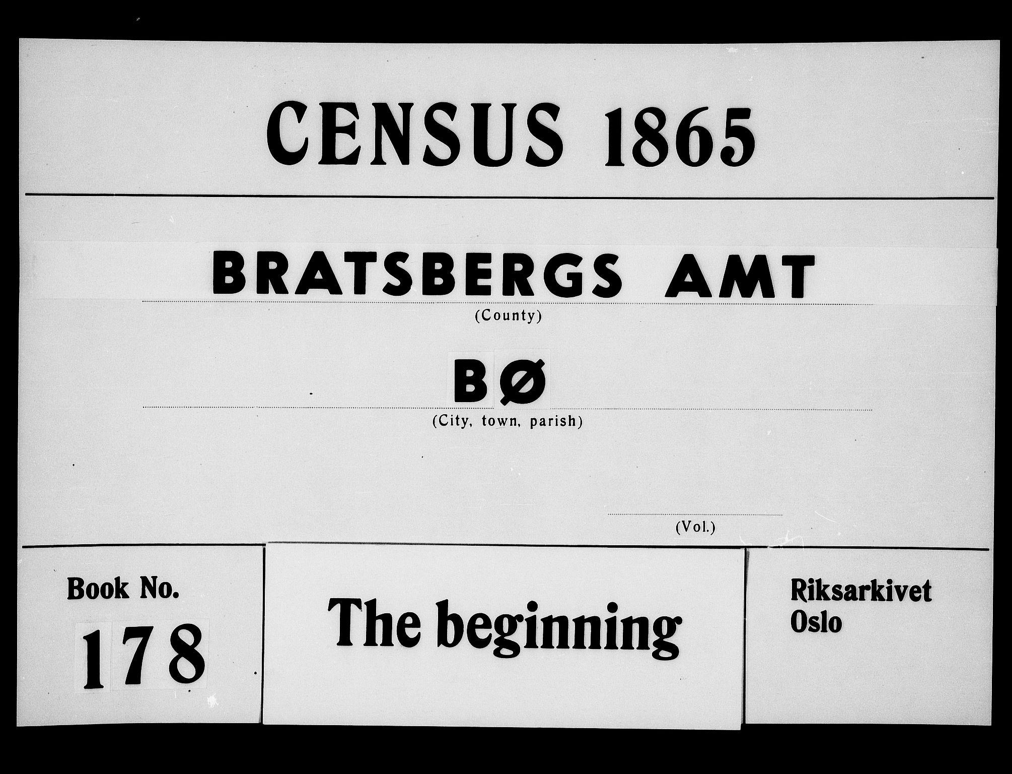 RA, Folketelling 1865 for 0821P Bø prestegjeld, 1865, s. 1