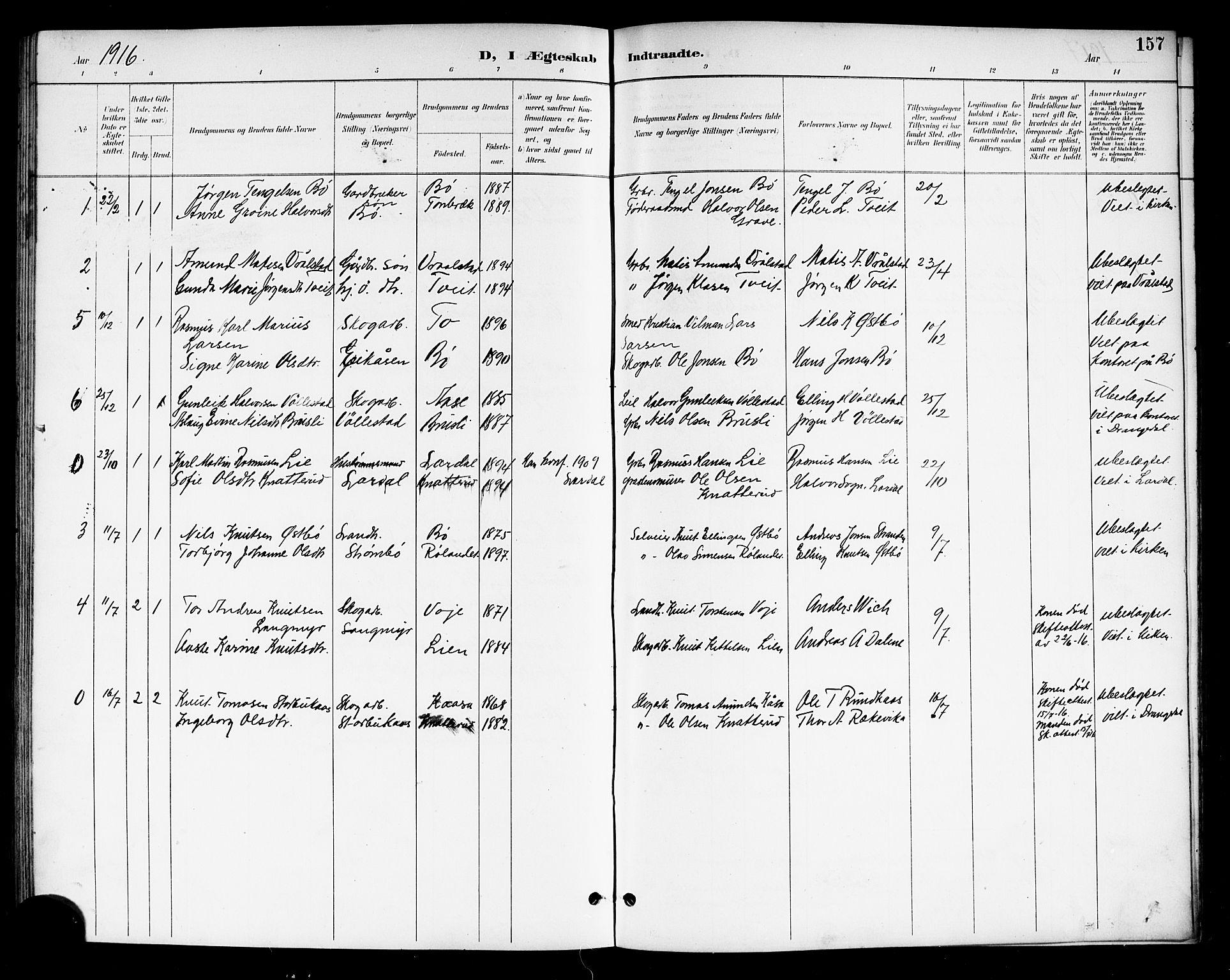 SAKO, Drangedal kirkebøker, G/Gb/L0002: Klokkerbok nr. II 2, 1895-1918, s. 157