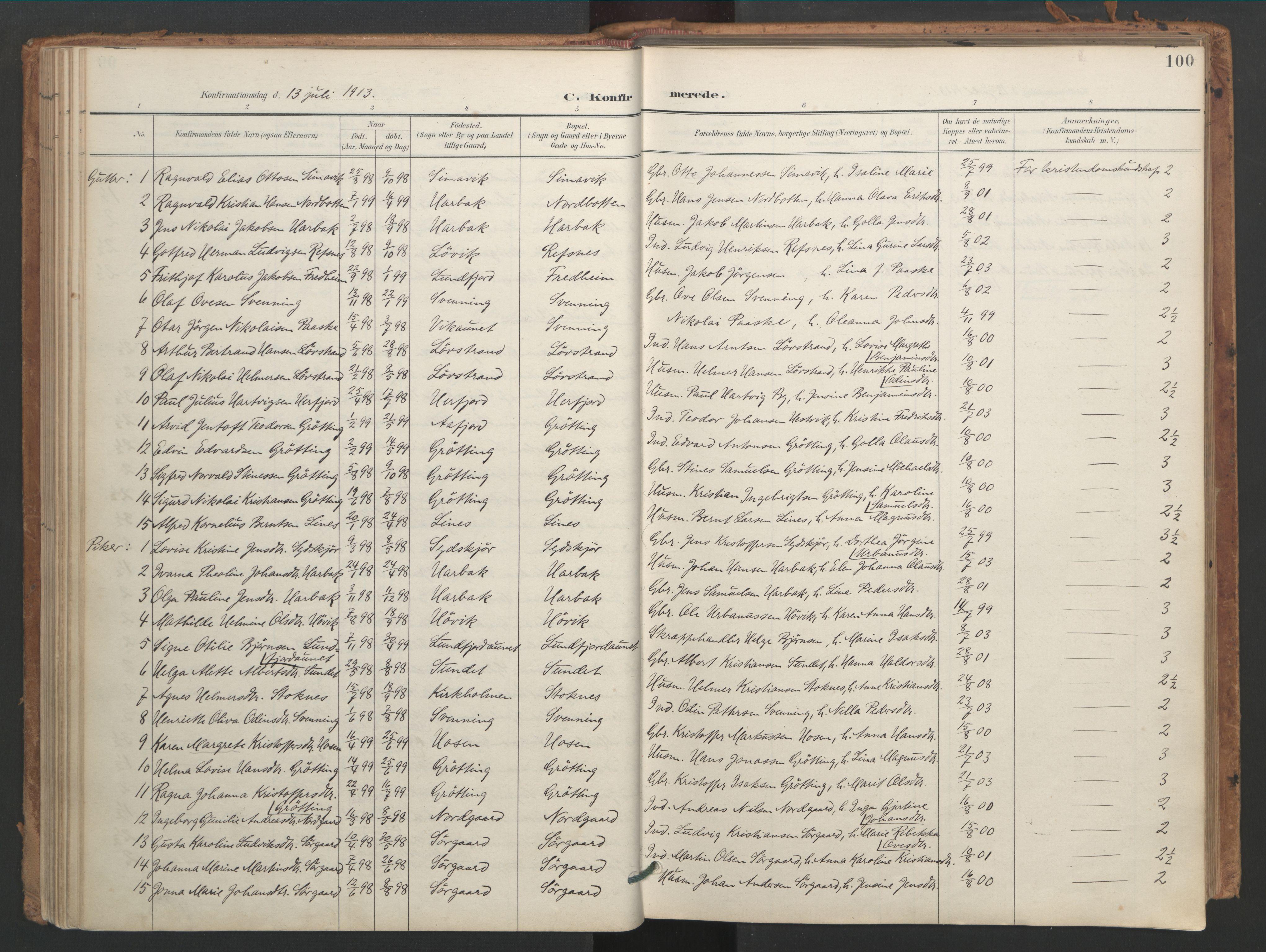 SAT, Ministerialprotokoller, klokkerbøker og fødselsregistre - Sør-Trøndelag, 656/L0693: Ministerialbok nr. 656A02, 1894-1913, s. 100