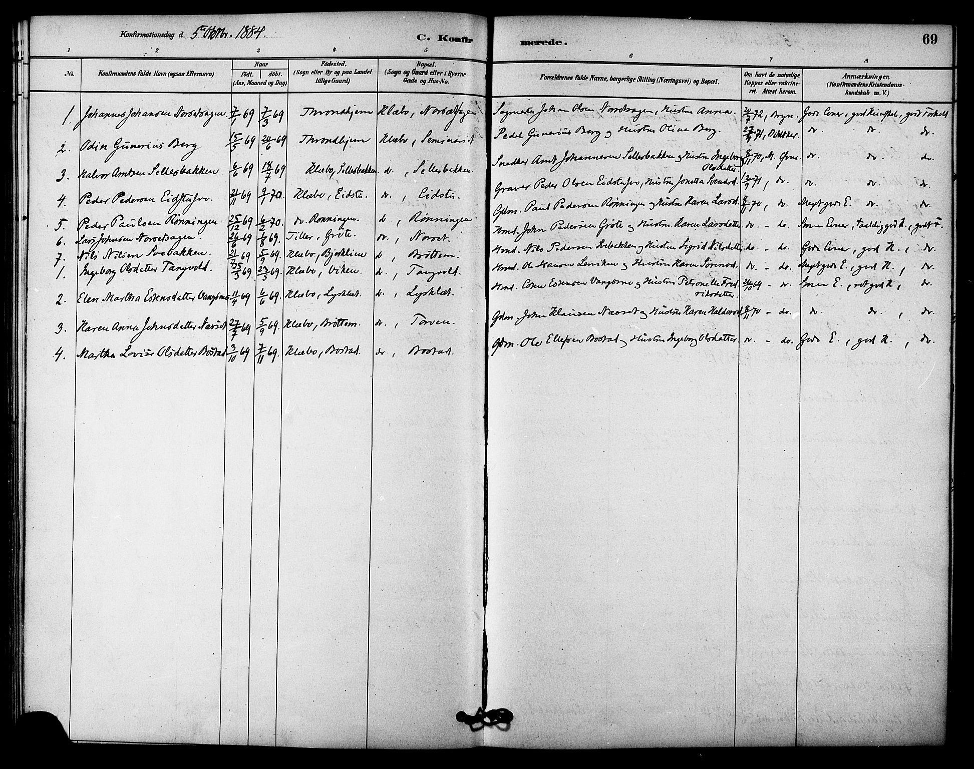 SAT, Ministerialprotokoller, klokkerbøker og fødselsregistre - Sør-Trøndelag, 618/L0444: Ministerialbok nr. 618A07, 1880-1898, s. 69