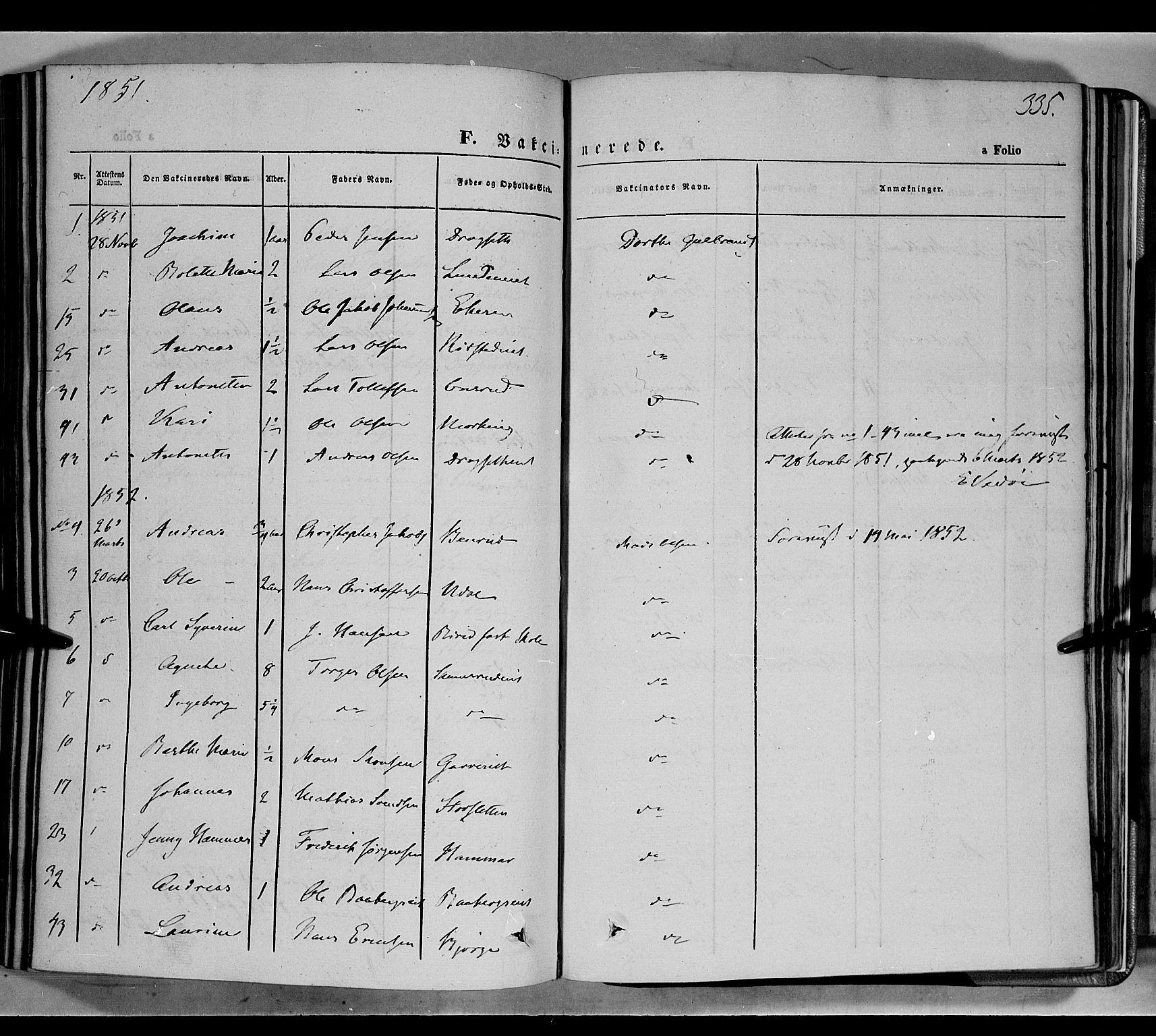 SAH, Biri prestekontor, Ministerialbok nr. 5, 1843-1854, s. 335