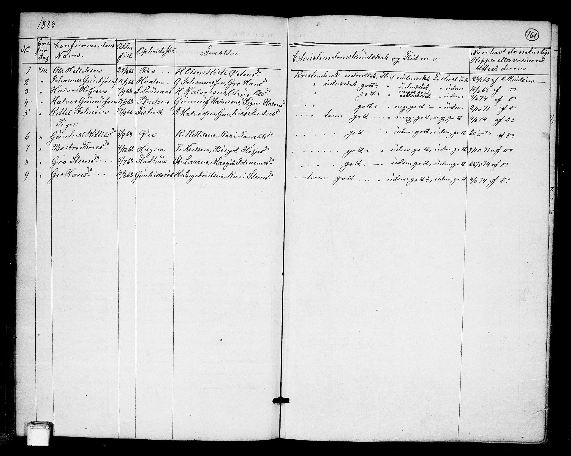 SAKO, Tinn kirkebøker, G/Ga/L0002: Klokkerbok nr. I 2, 1851-1883, s. 161