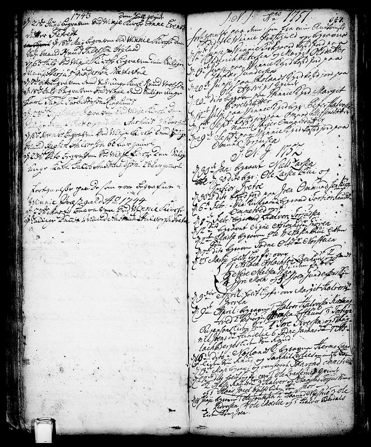 SAKO, Vinje kirkebøker, F/Fa/L0001: Ministerialbok nr. I 1, 1717-1766, s. 147