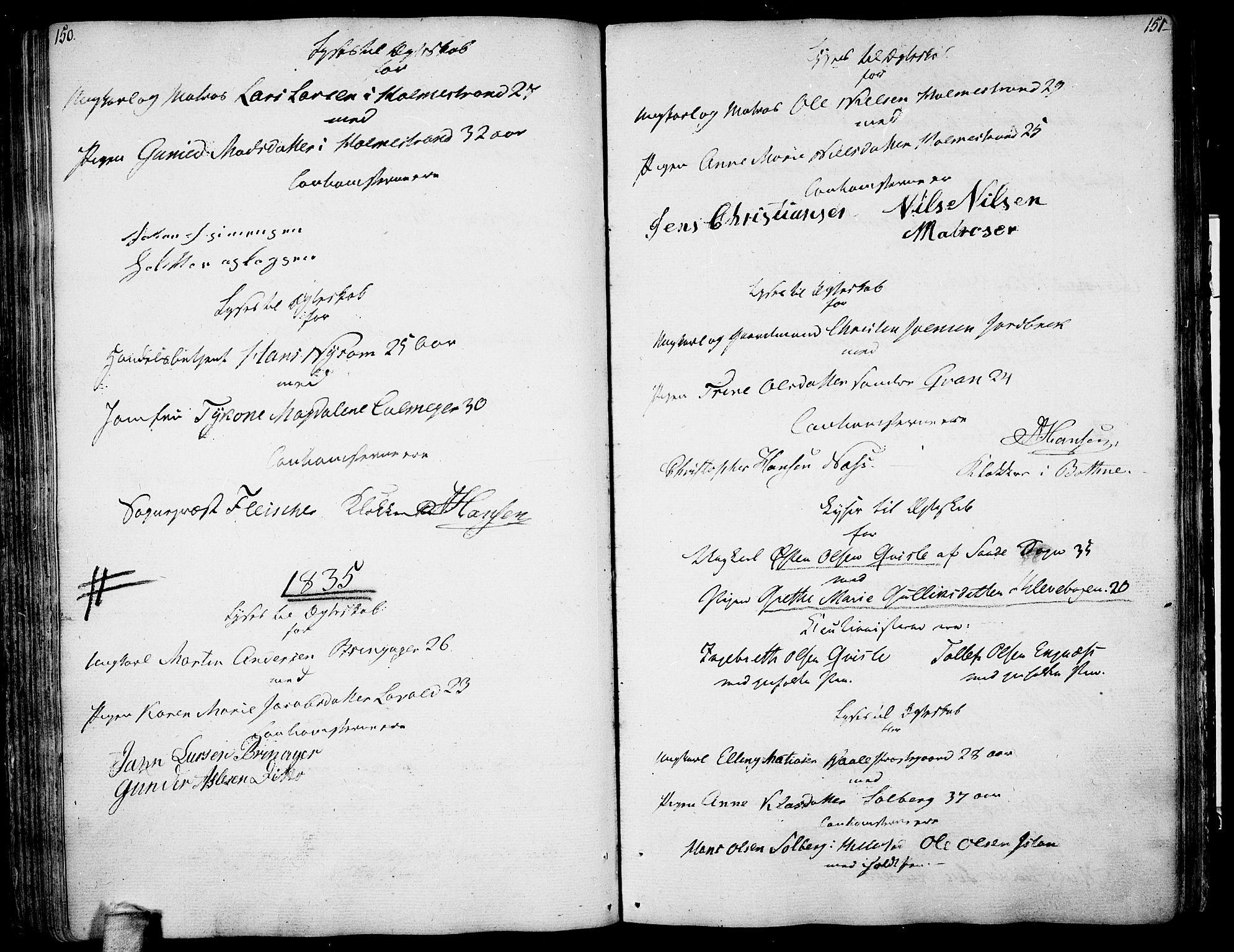 SAKO, Botne kirkebøker, F/Fa/L0003: Ministerialbok nr. I 3 /1, 1792-1844, s. 150-151