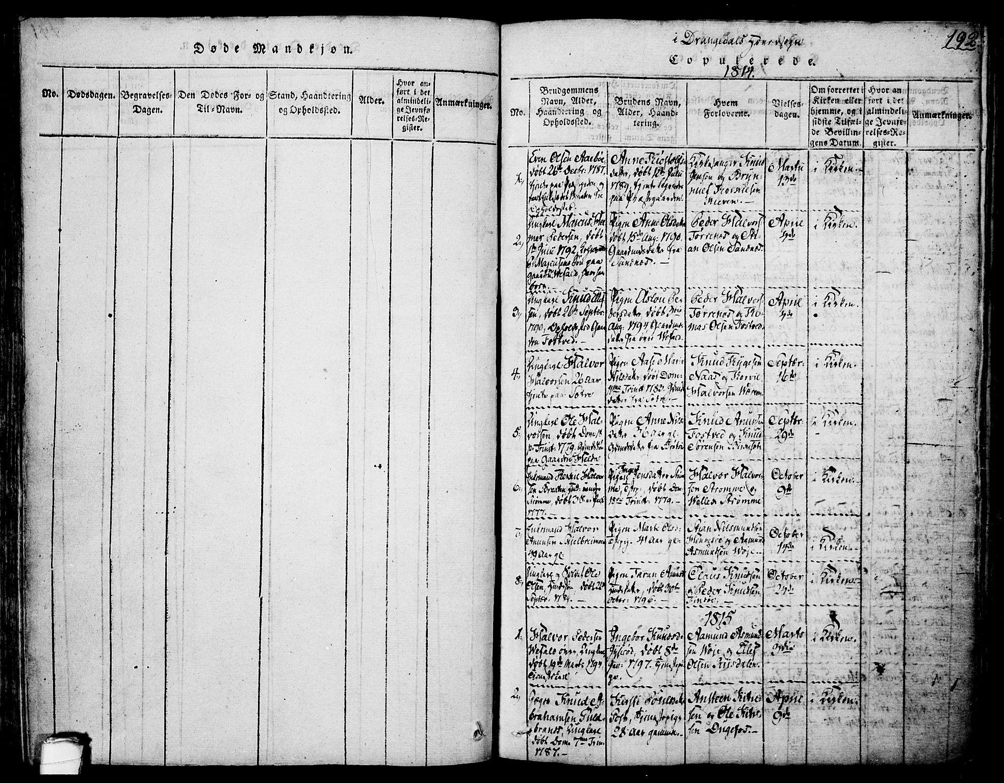 SAKO, Drangedal kirkebøker, F/Fa/L0005: Ministerialbok nr. 5 /1, 1814-1831, s. 192