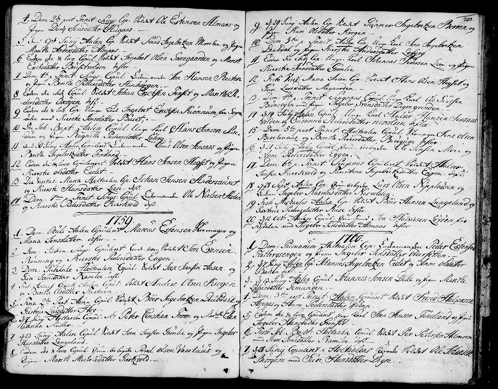 SAT, Ministerialprotokoller, klokkerbøker og fødselsregistre - Sør-Trøndelag, 685/L0952: Ministerialbok nr. 685A01, 1745-1804, s. 203