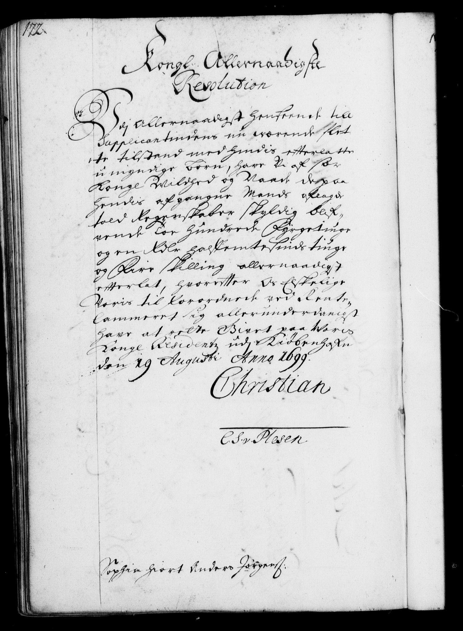 RA, Rentekammeret, Kammerkanselliet, G/Gf/Gfa/L0001: Resolusjonsprotokoll med register (merket RK 52.1), 1695-1706, s. 172