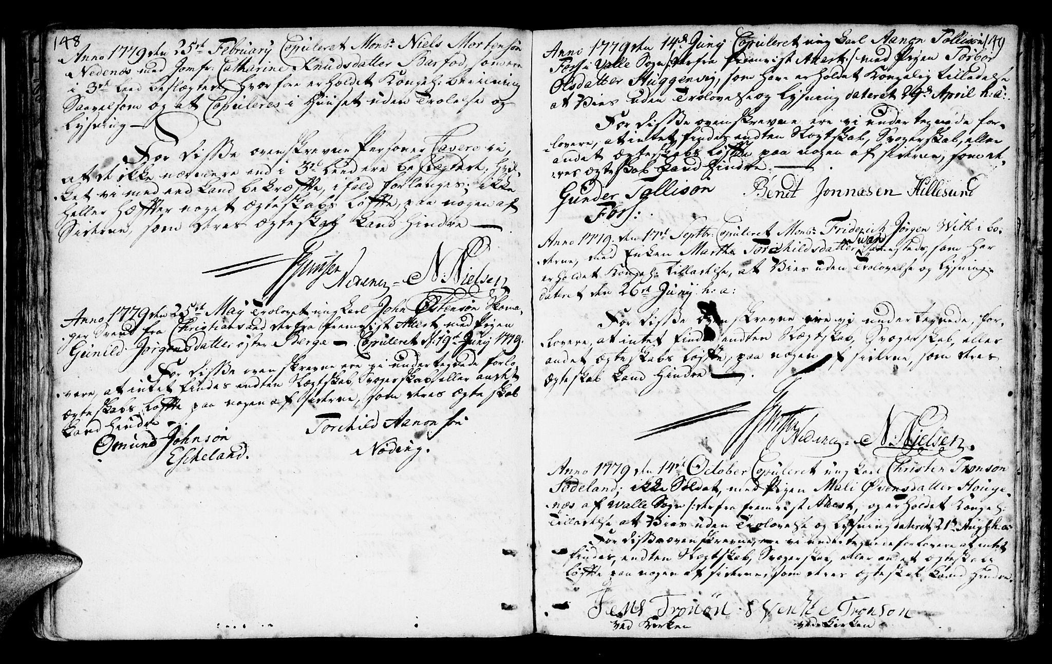 SAK, Mandal sokneprestkontor, F/Fa/Faa/L0006: Ministerialbok nr. A 6, 1755-1783, s. 148-149