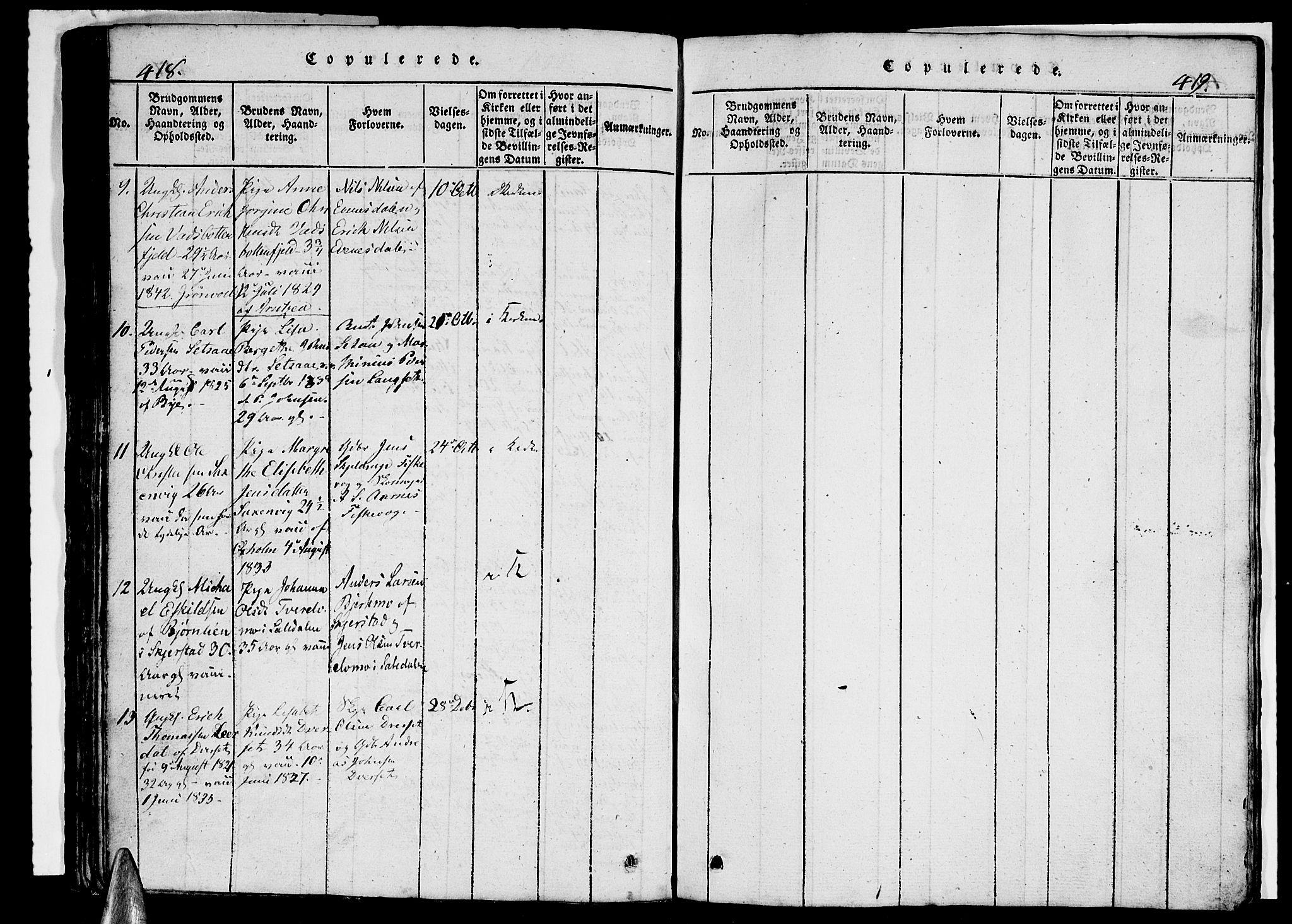 SAT, Ministerialprotokoller, klokkerbøker og fødselsregistre - Nordland, 847/L0676: Klokkerbok nr. 847C04, 1821-1853, s. 418-419