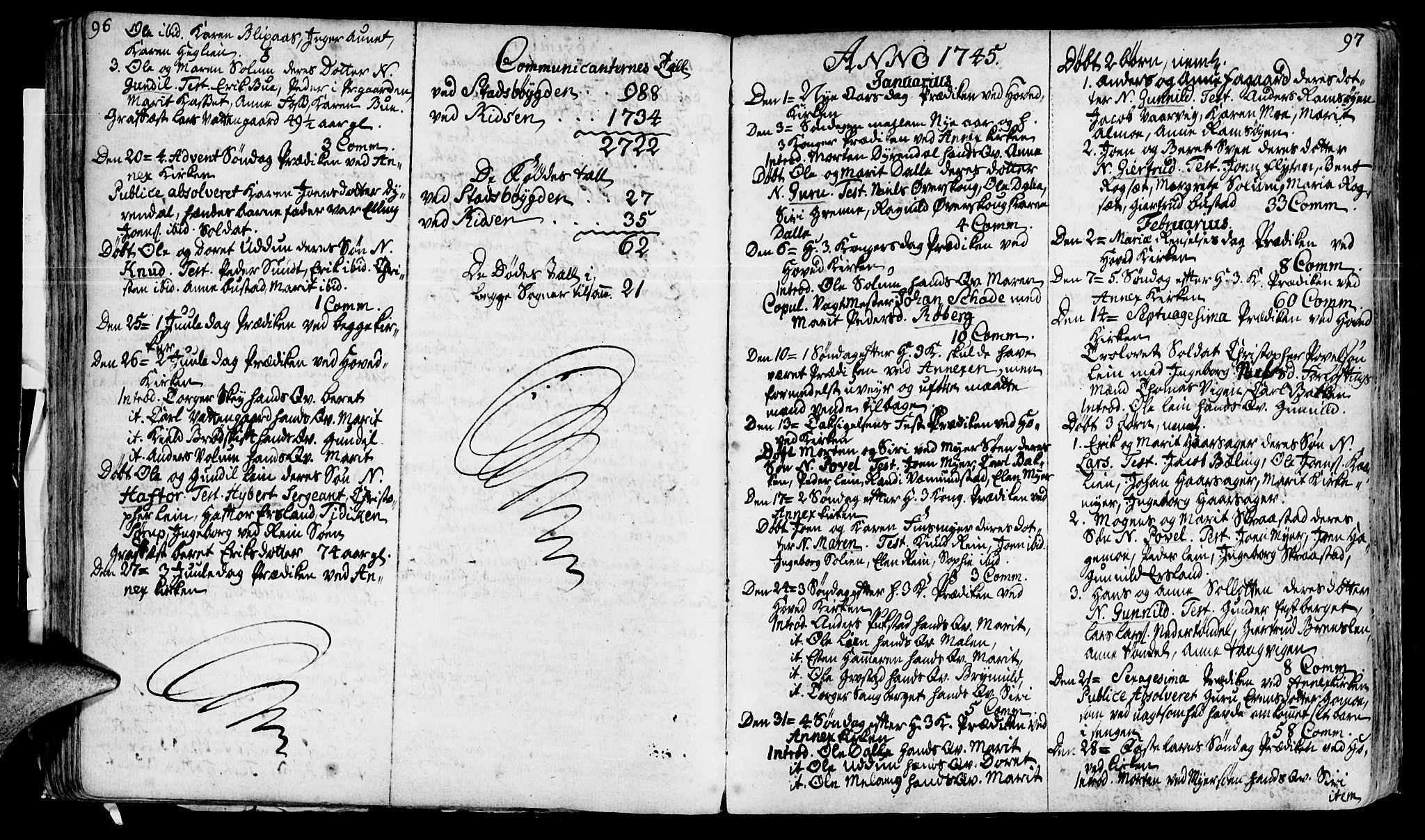 SAT, Ministerialprotokoller, klokkerbøker og fødselsregistre - Sør-Trøndelag, 646/L0604: Ministerialbok nr. 646A02, 1735-1750, s. 96-97